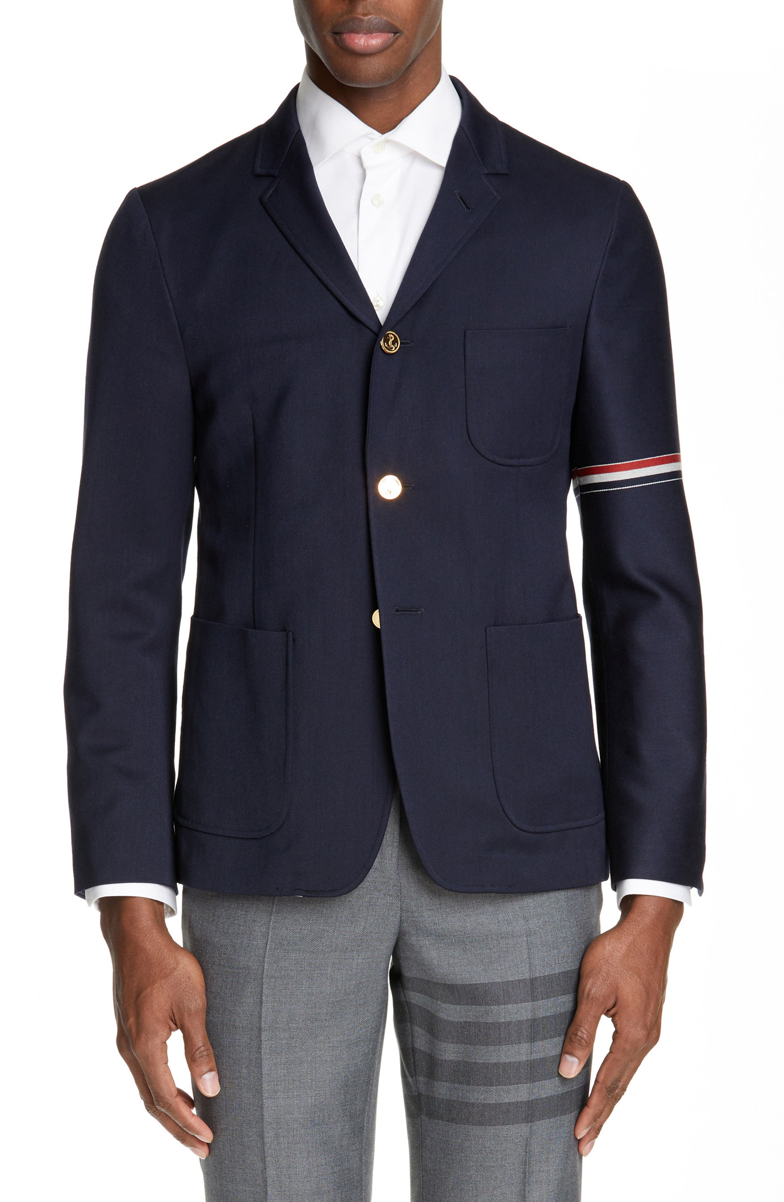 Unconstructed Wool Blend Sport Coat, Main, color, NAVY