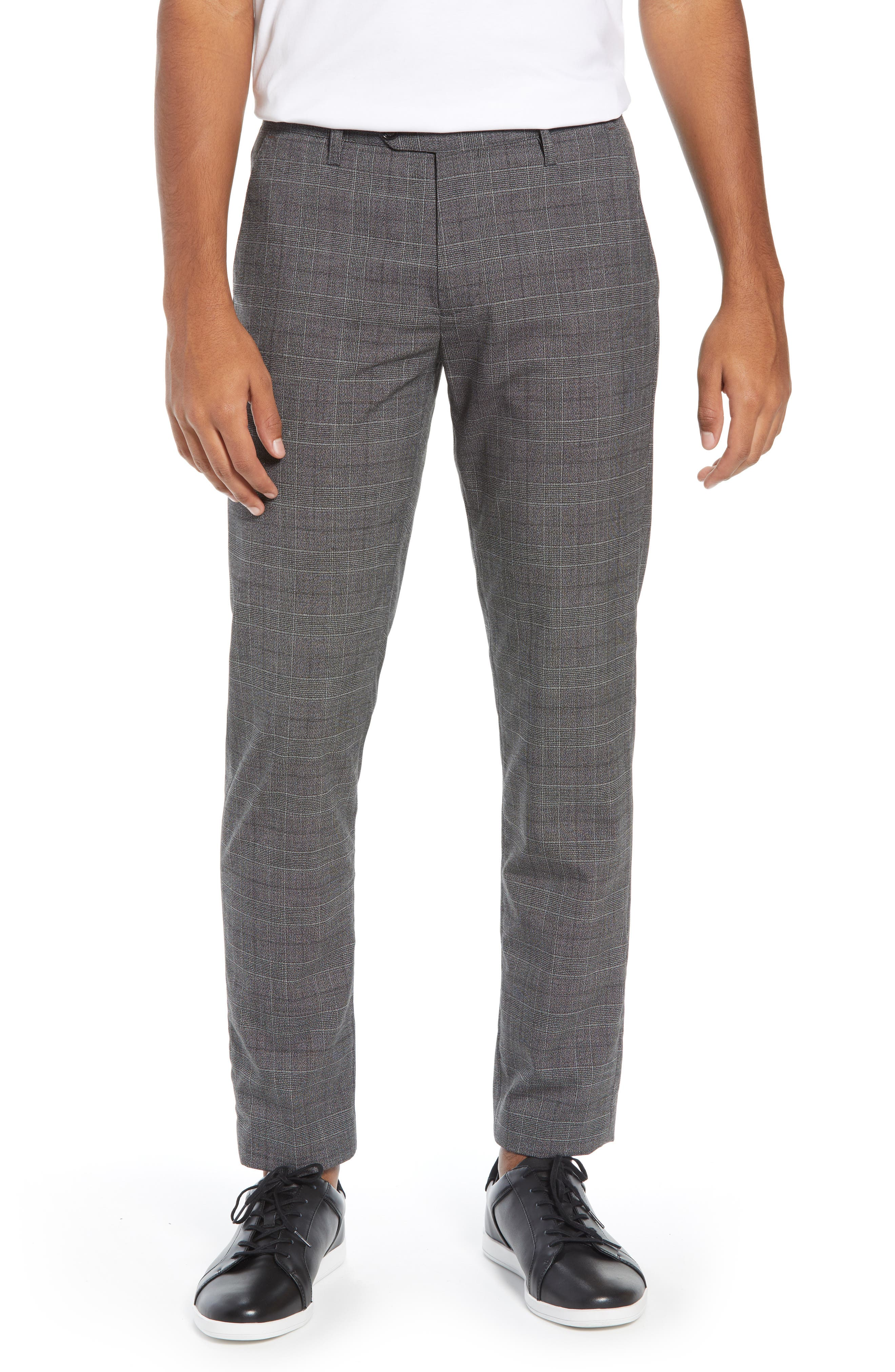 Squared Slim Fit Check Cropped Trousers,                             Main thumbnail 1, color,                             GREY
