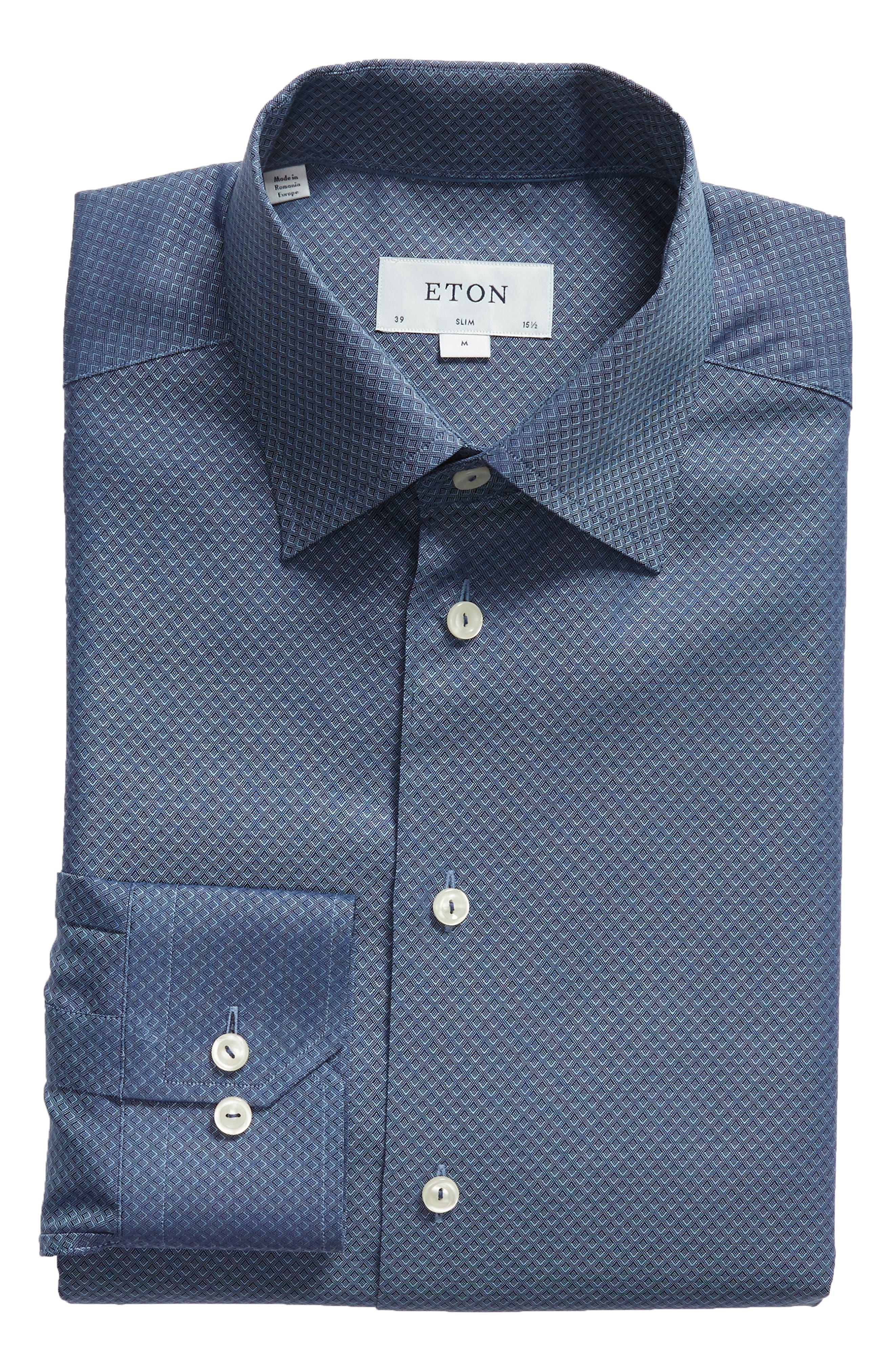 Slim Fit Diamond Print Dress Shirt,                             Alternate thumbnail 5, color,                             400
