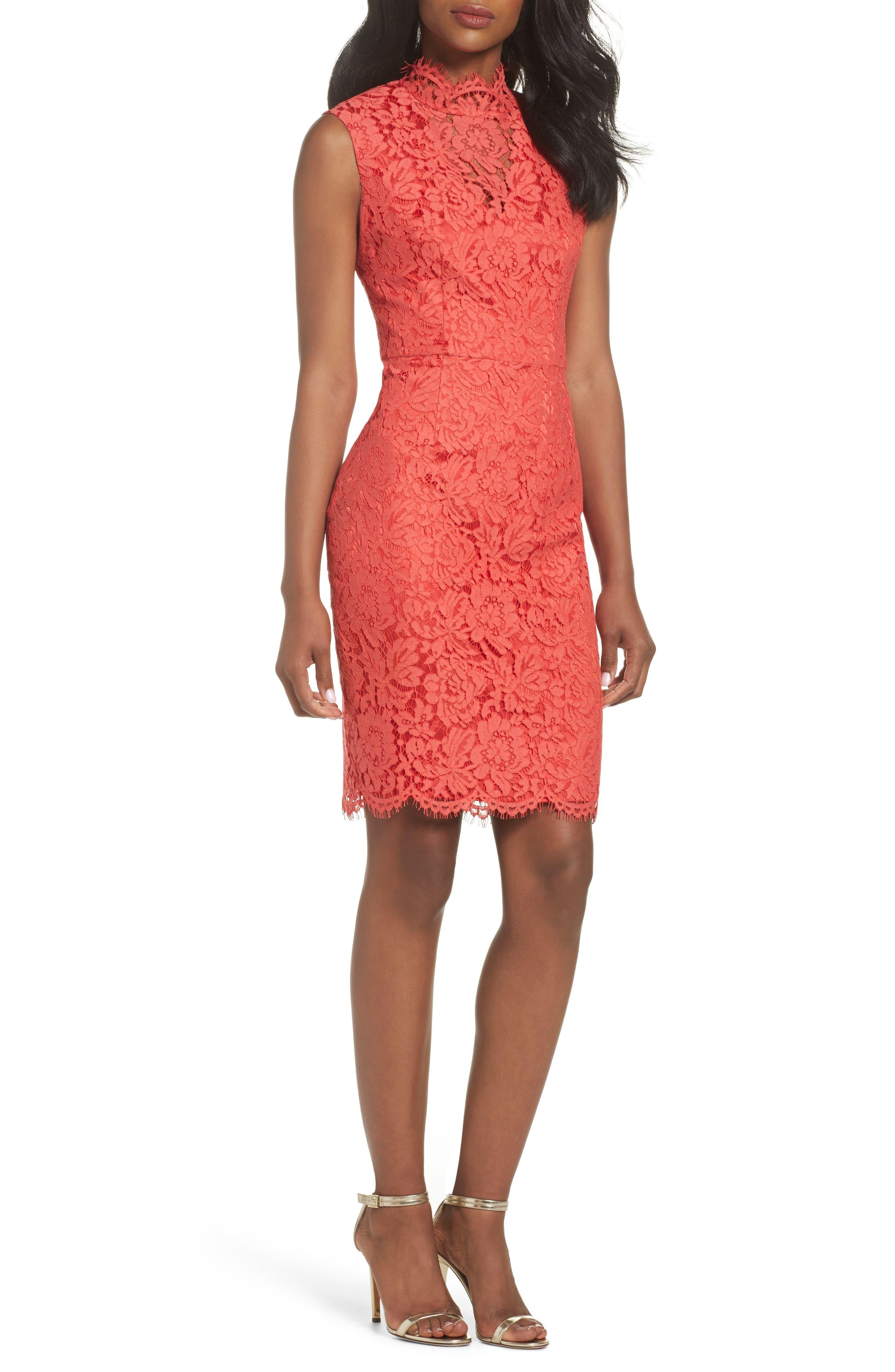 Open Back Lace Sheath Dress,                             Main thumbnail 1, color,                             GRENADINE
