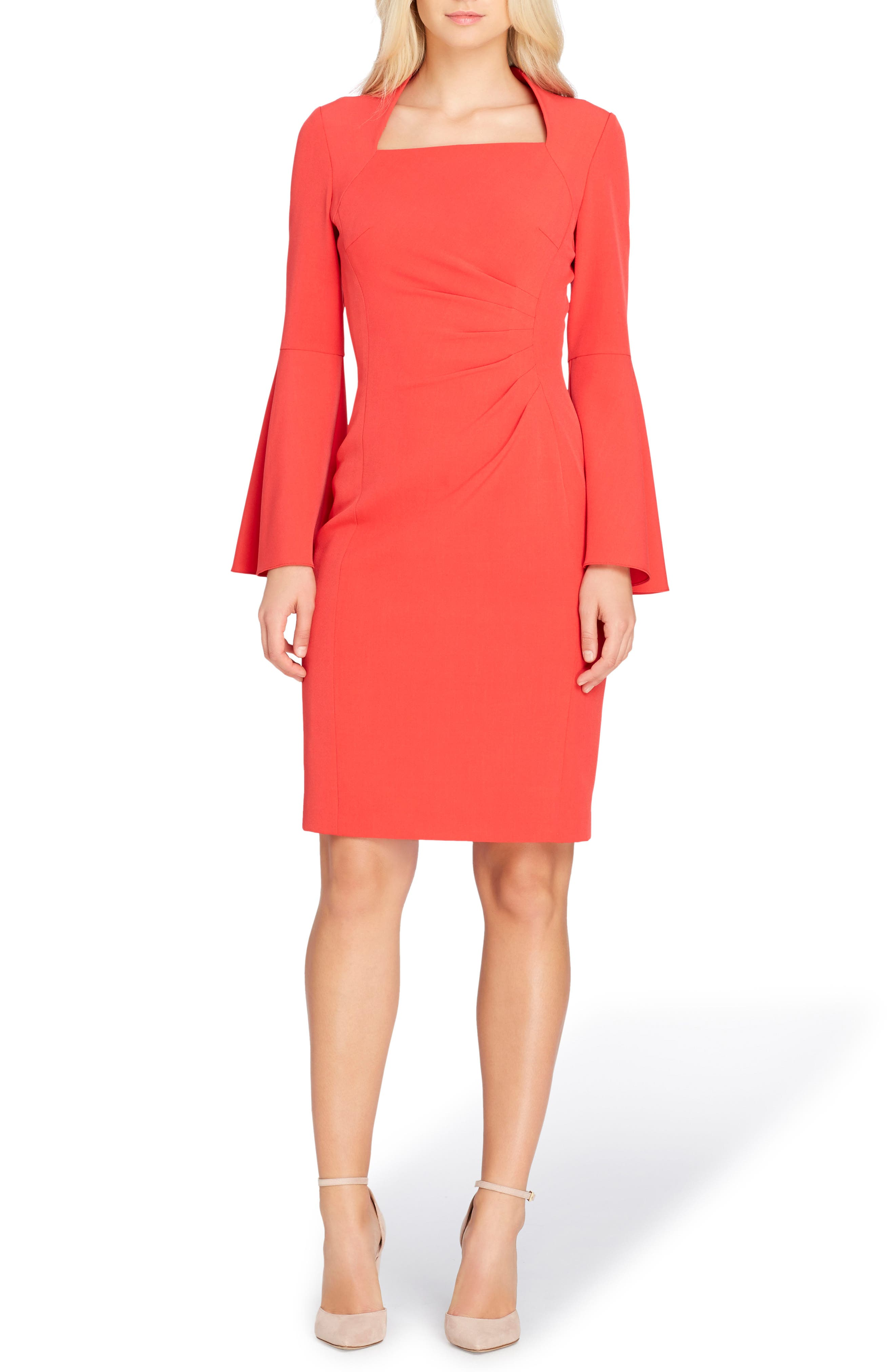 Bell Sleeve Sheath Dress,                             Main thumbnail 1, color,