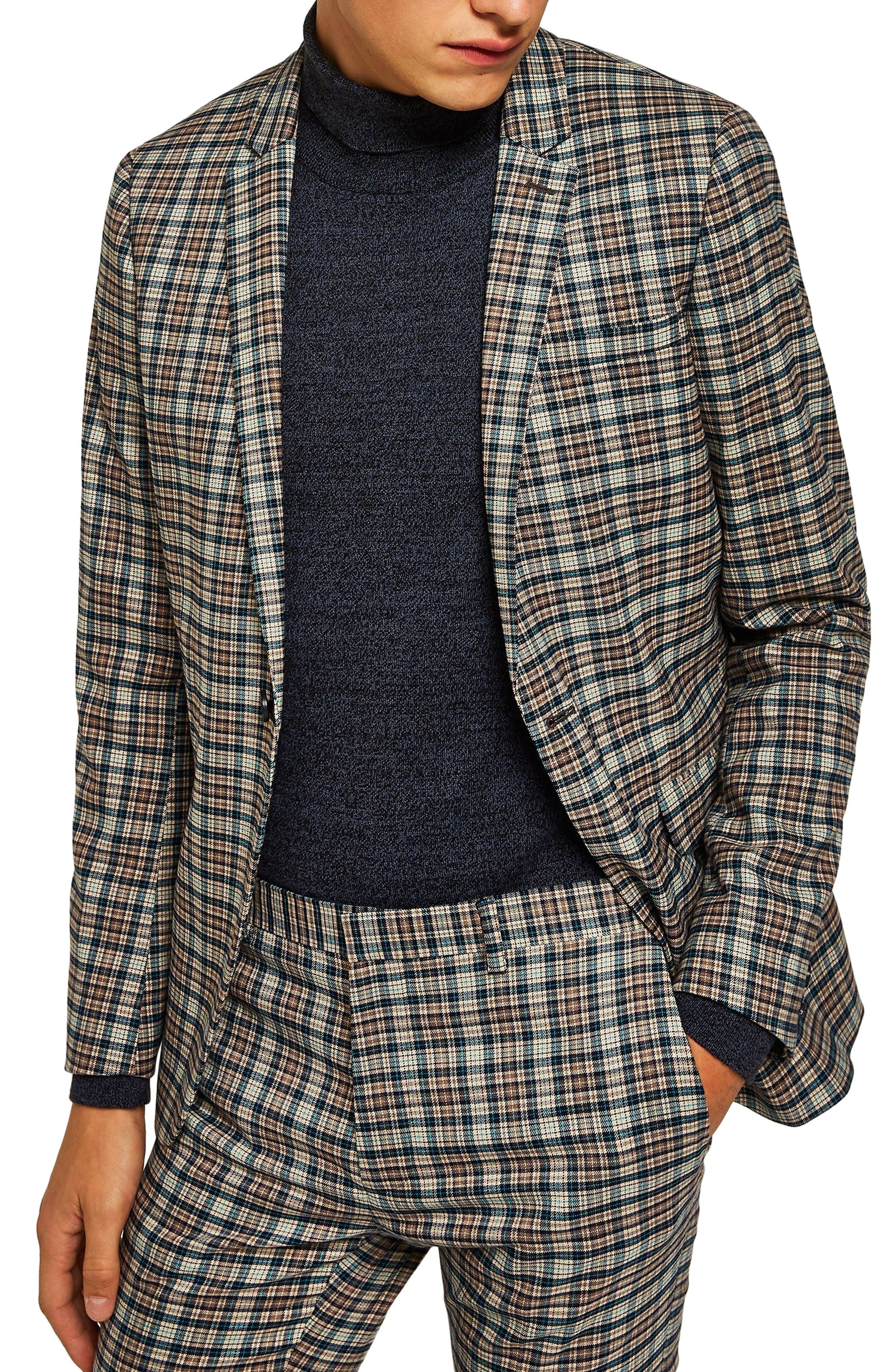 Ultra Skinny Fit Check Suit Jacket,                         Main,                         color, BLACK MULTI