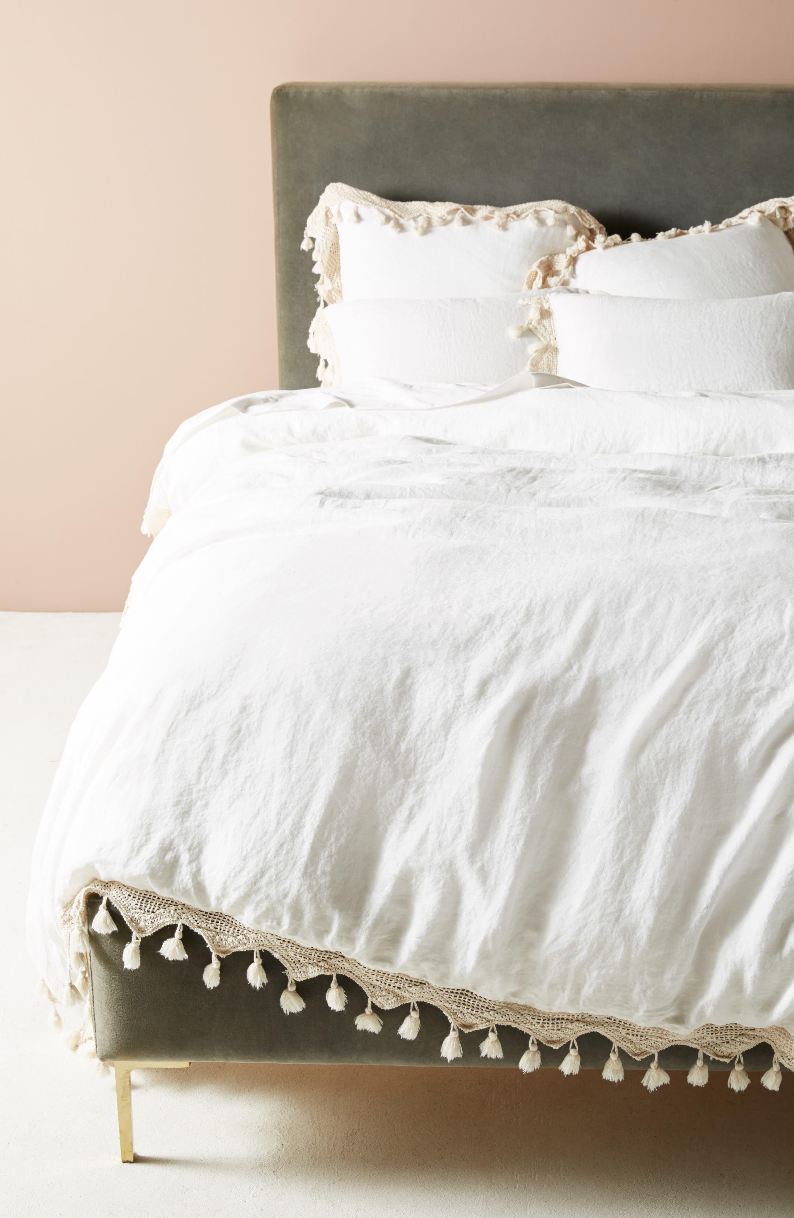 Tassel Trim Duvet Cover,                         Main,                         color, WHITE