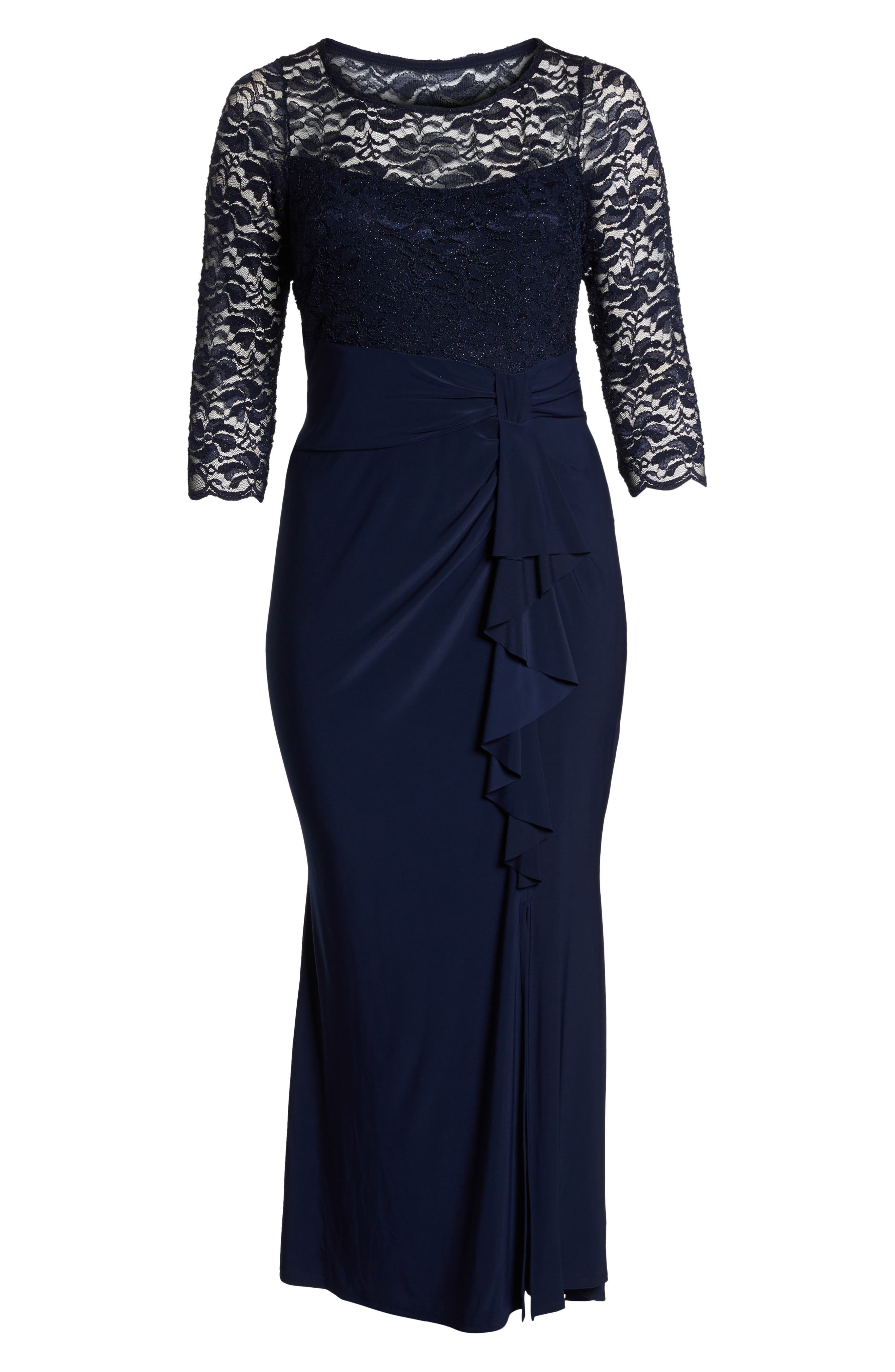 Cascade Lace & Jersey Gown,                             Alternate thumbnail 6, color,                             250