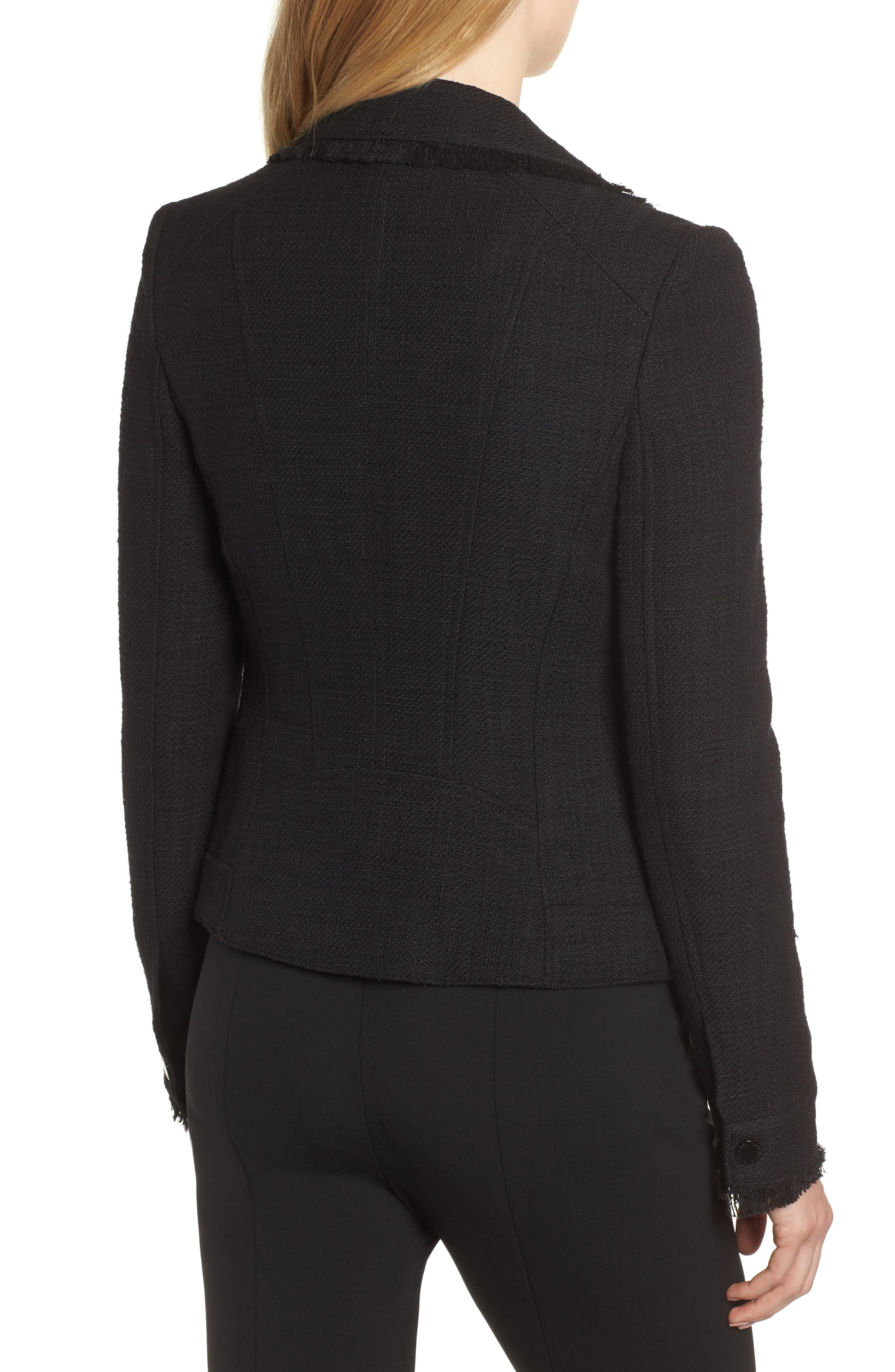 KARL LAGERFELD PARIS,                             Tweed Moto Jacket,                             Alternate thumbnail 2, color,                             001