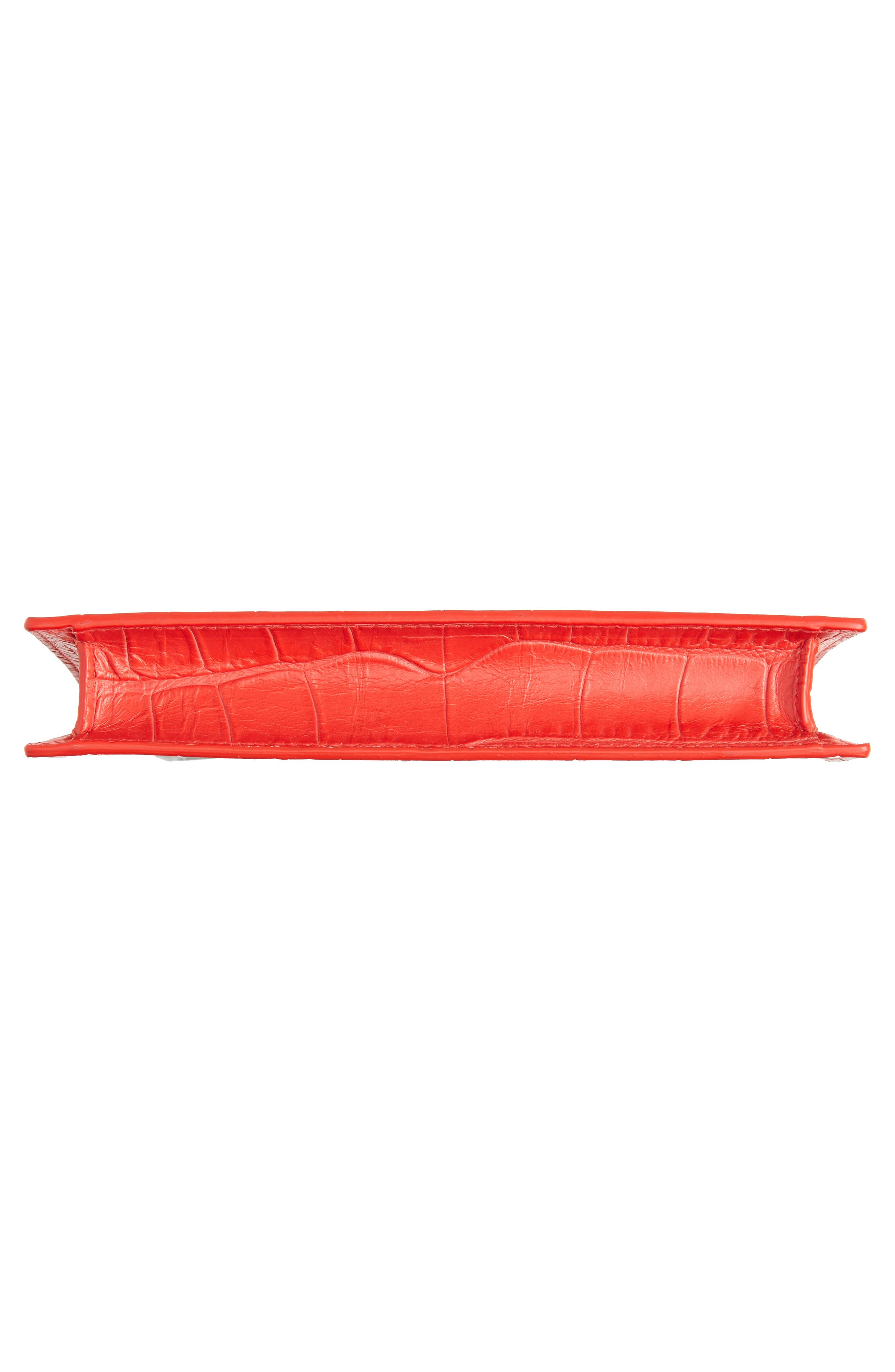 Croc Embossed Calfskin Leather Double Ring Clutch,                             Alternate thumbnail 6, color,                             LUST RED