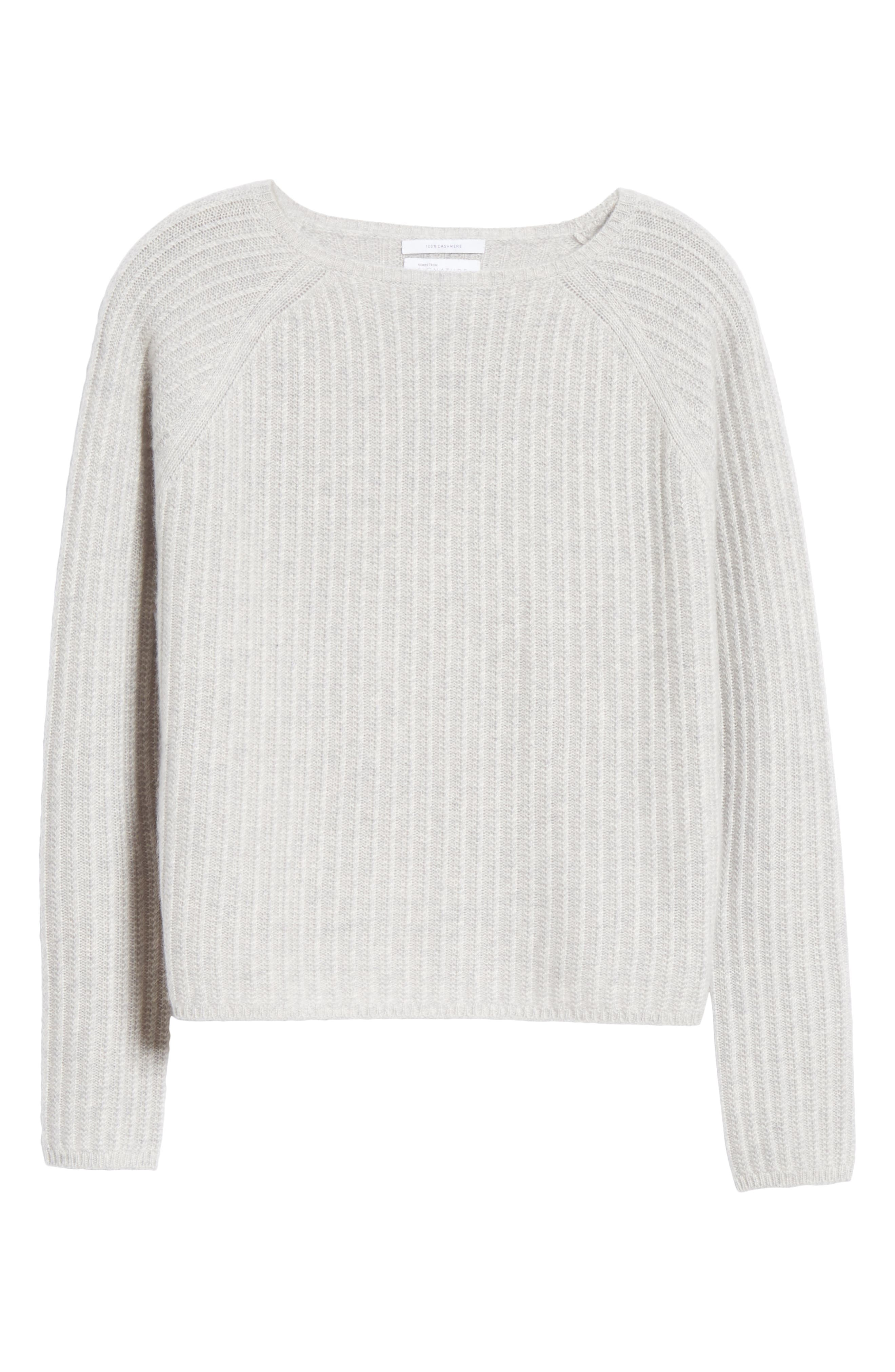 Textured Cashmere Sweater,                             Alternate thumbnail 6, color,                             GREY CLAY HEATHER