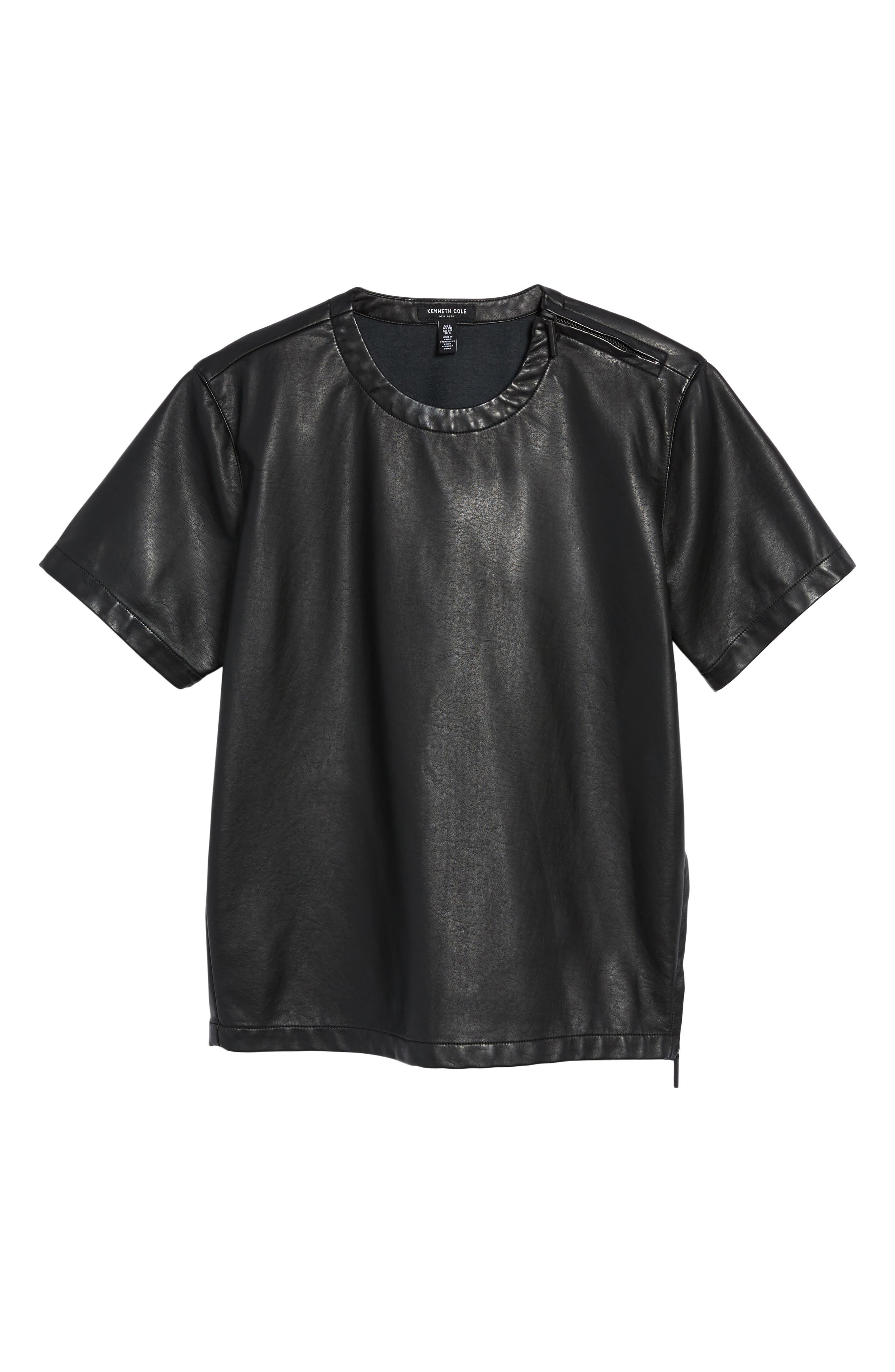 Faux Leather Tee,                             Alternate thumbnail 6, color,