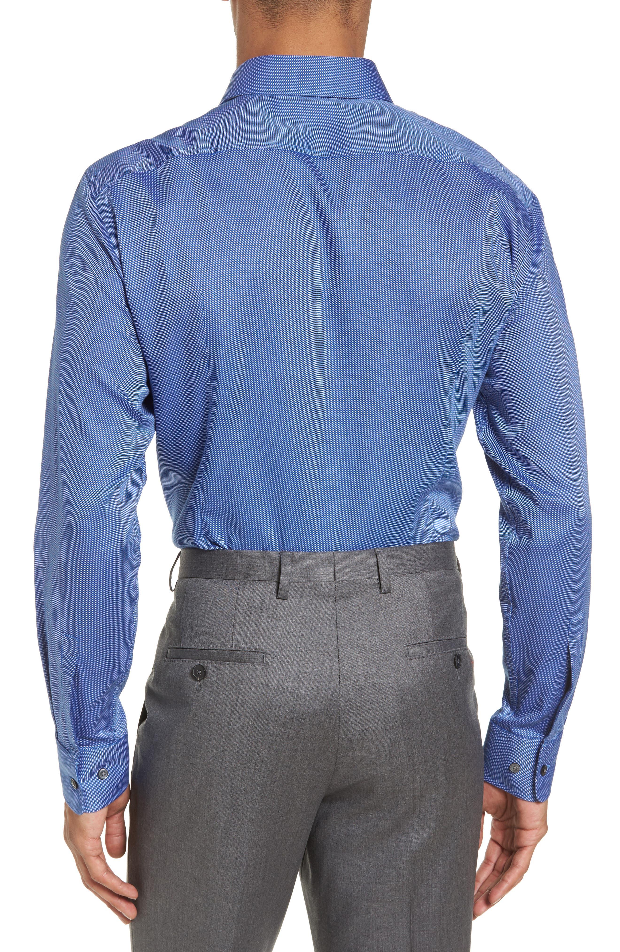 Sharp Fit Solid Dress Shirt,                             Alternate thumbnail 3, color,