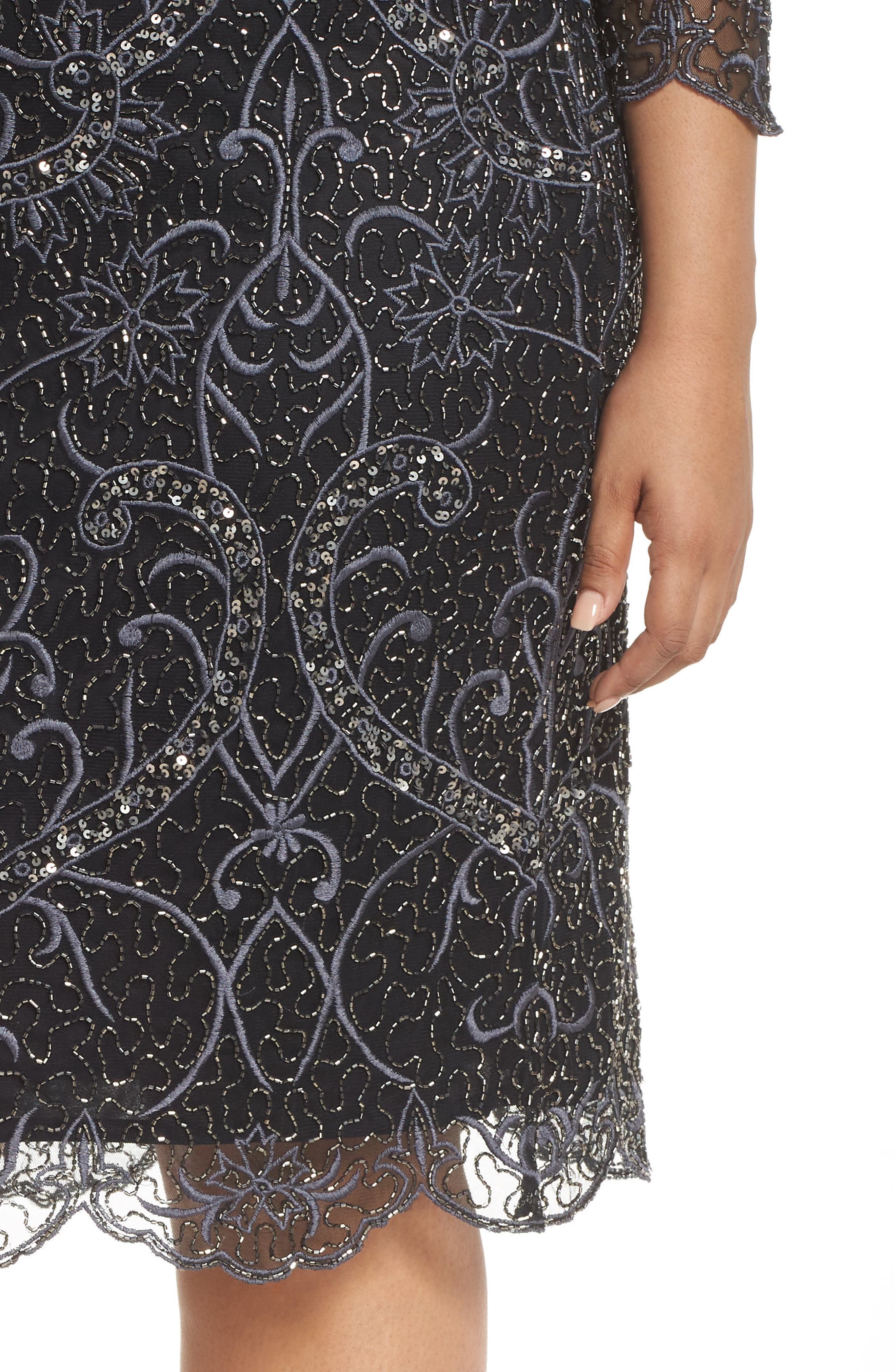 Embellished Sheath Dress,                             Alternate thumbnail 4, color,                             001