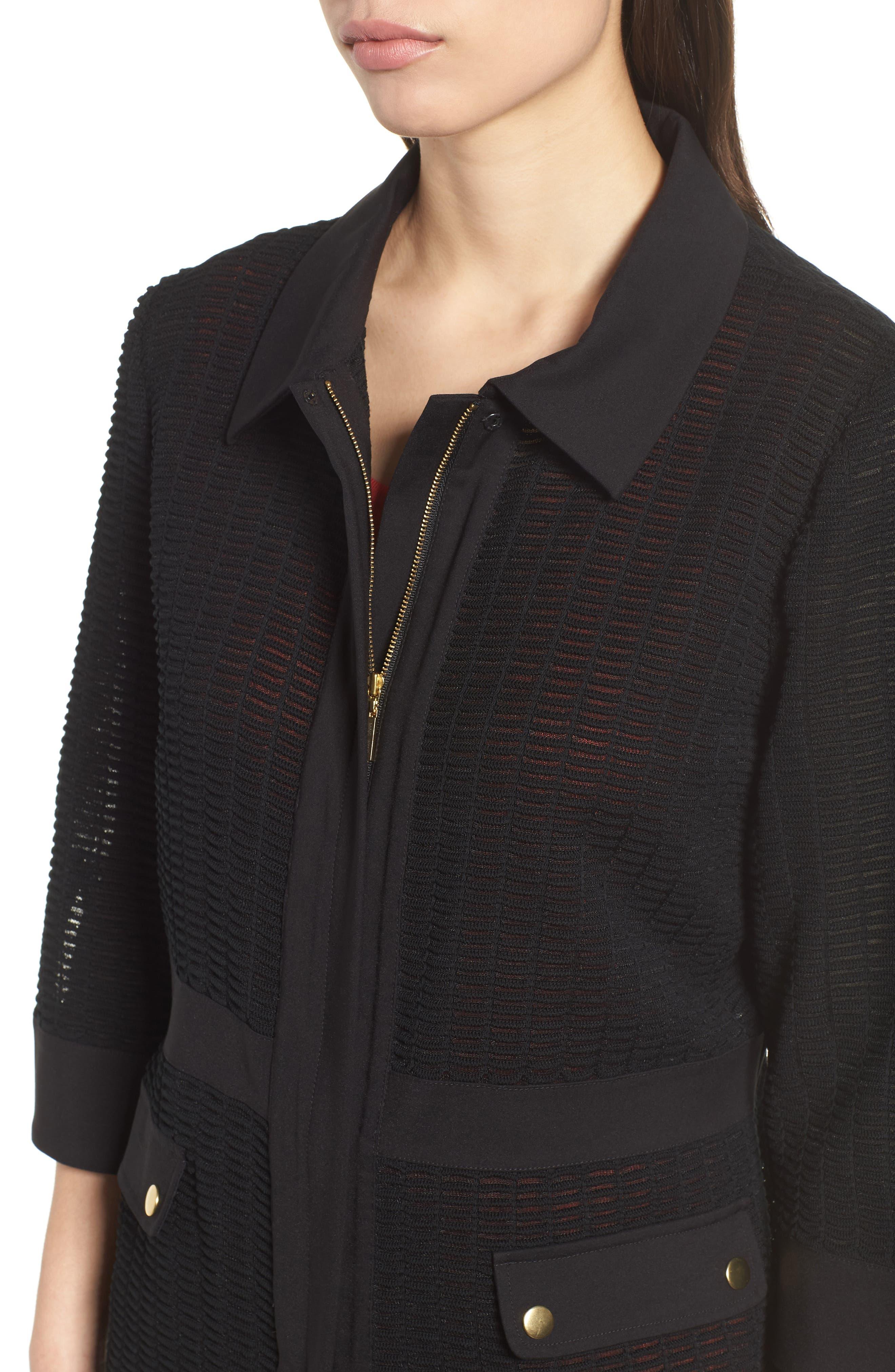 Jacquard Jacket,                             Alternate thumbnail 4, color,                             BLACK
