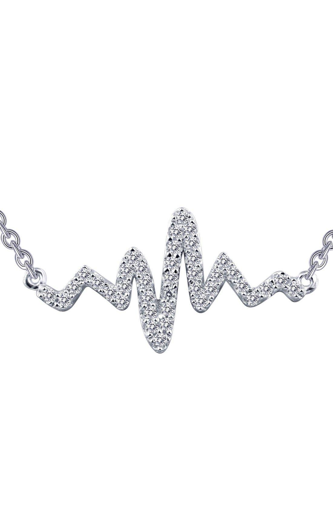 'Lassaire' Heartbeat Pendant Necklace,                             Main thumbnail 1, color,                             SILVER
