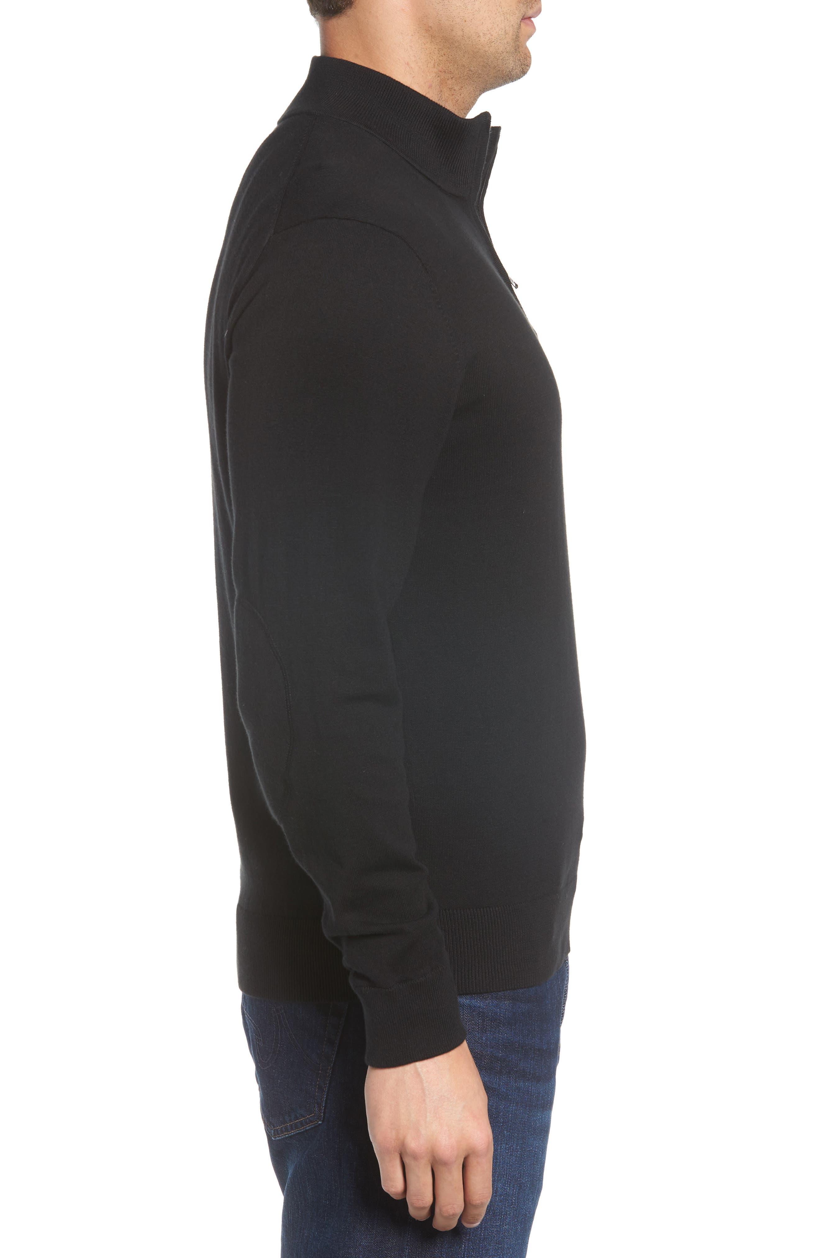 Chicago Bears - Lakemont Regular Fit Quarter Zip Sweater,                             Alternate thumbnail 3, color,                             BLACK