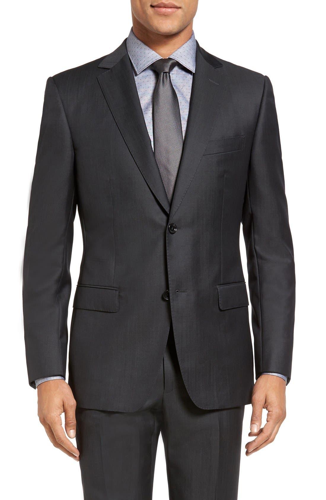 Trim Fit Solid Wool Suit,                             Alternate thumbnail 7, color,                             022