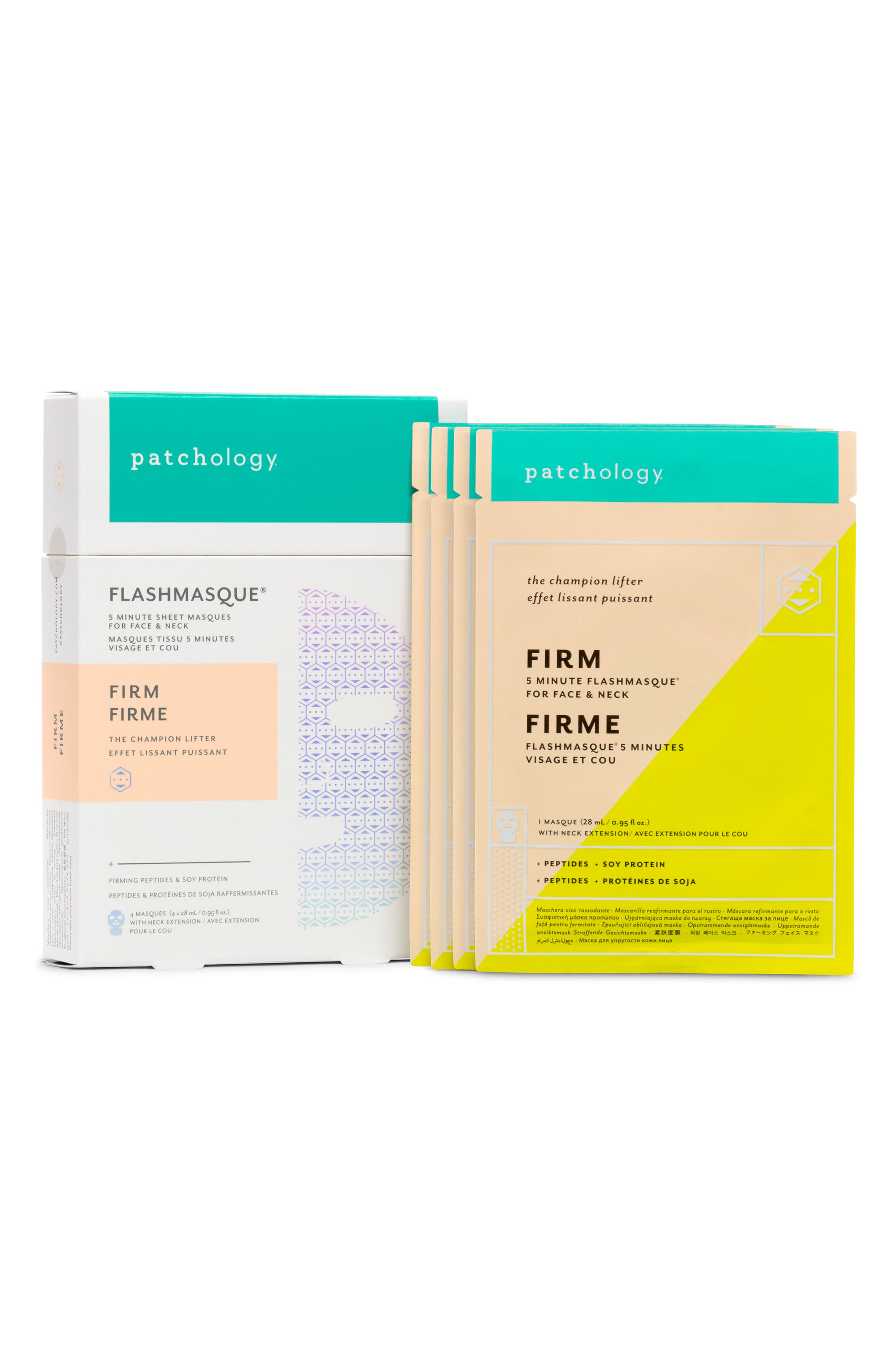 FlashMasque<sup>®</sup> Firm 5-Minute Face & Neck Sheet Mask,                         Main,                         color, NO COLOR