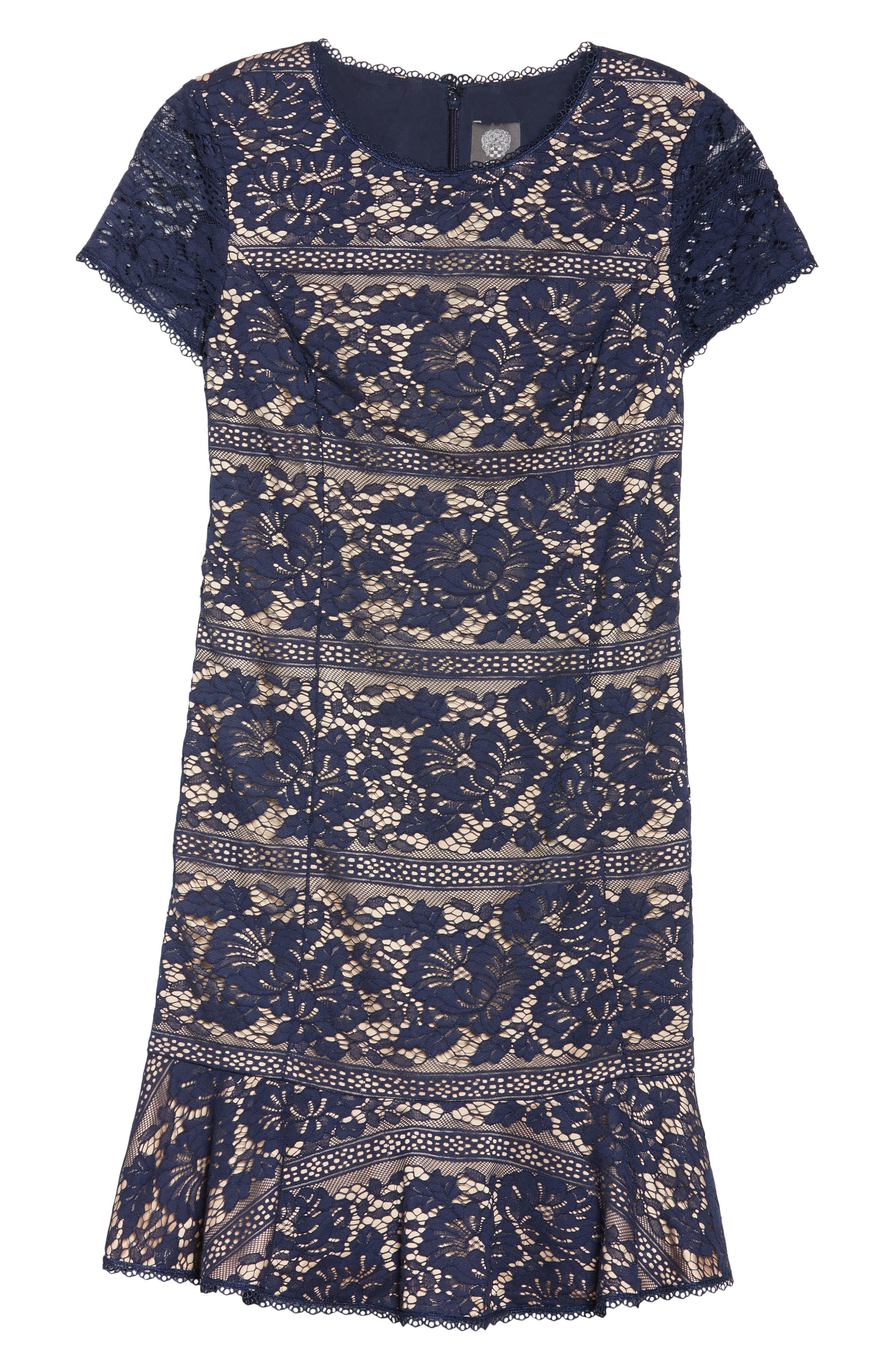 Lace Ruffle Hem Sheath Dress,                             Alternate thumbnail 6, color,                             410