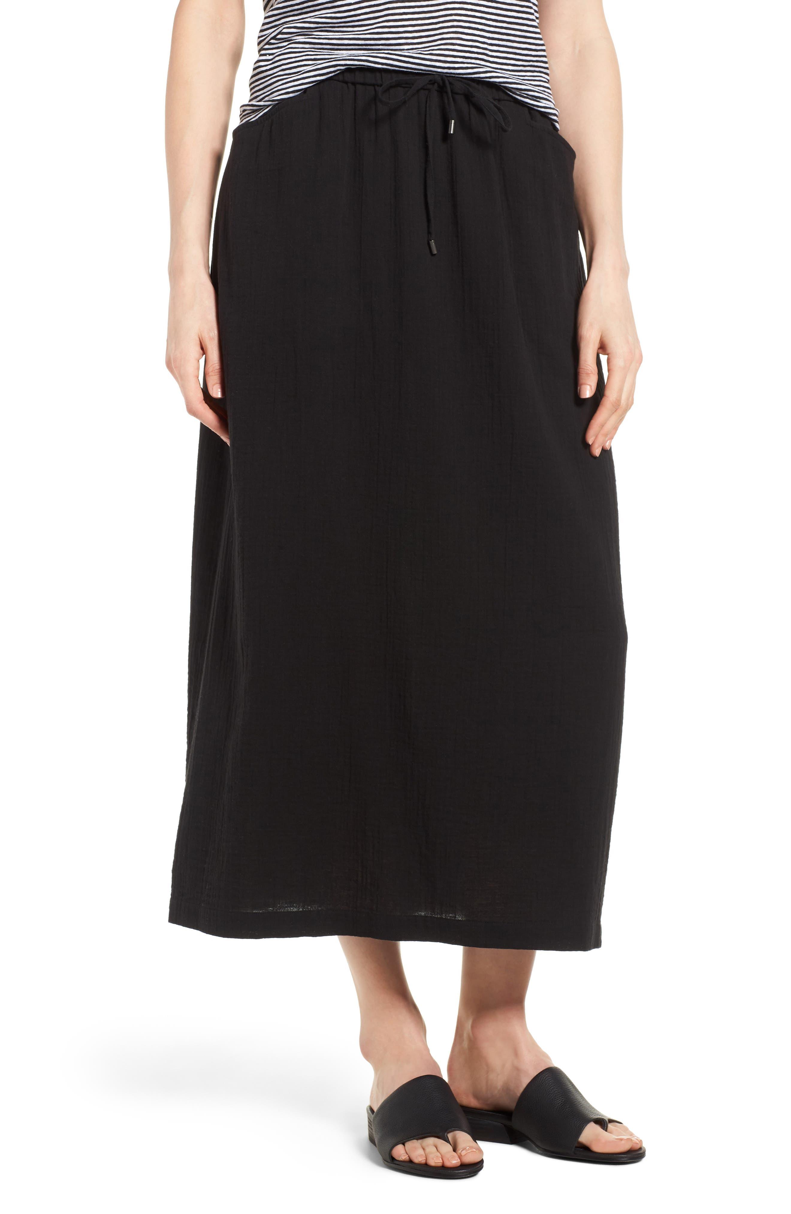 EILEEN FISHER Drawstring Organic Cotton Midi Skirt, Main, color, 001