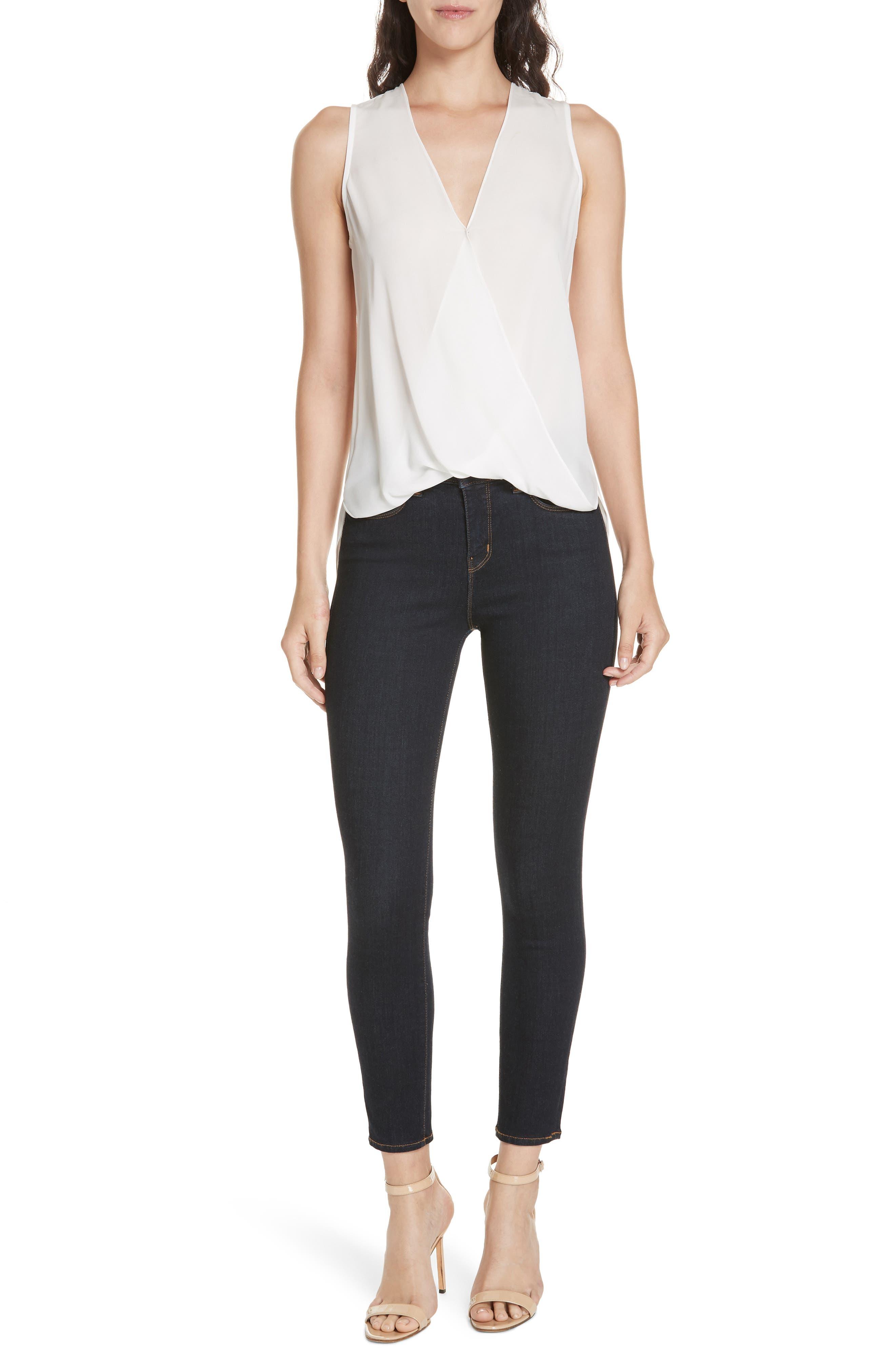 Margot High Waist Crop Jeans,                             Alternate thumbnail 8, color,                             MIDNIGHT