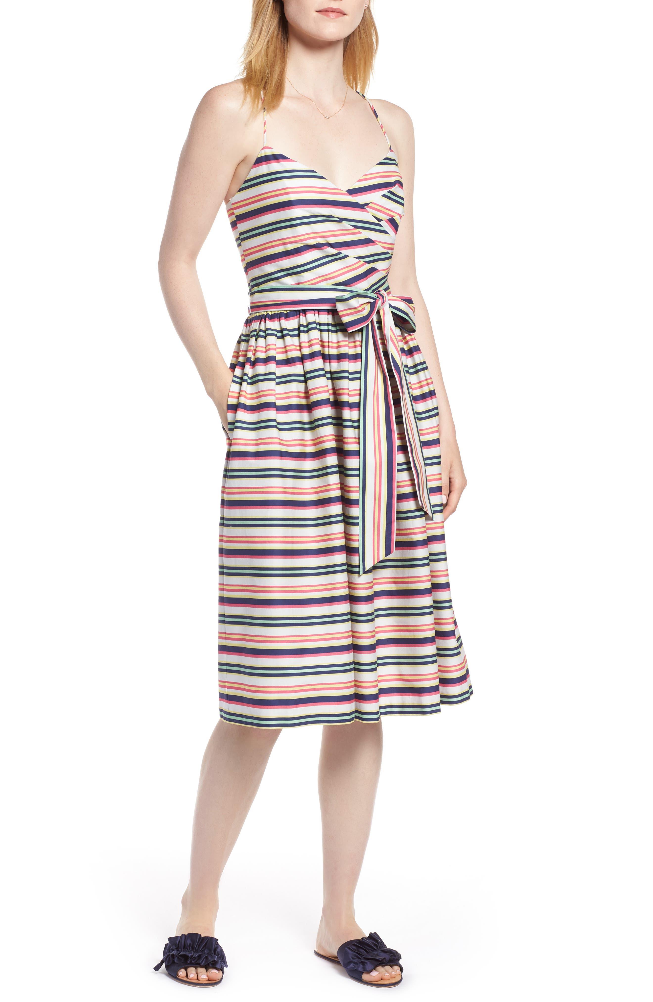 Stripe Strappy Cotton Dress,                             Main thumbnail 1, color,                             NAVY PINK COMBO STRIPE