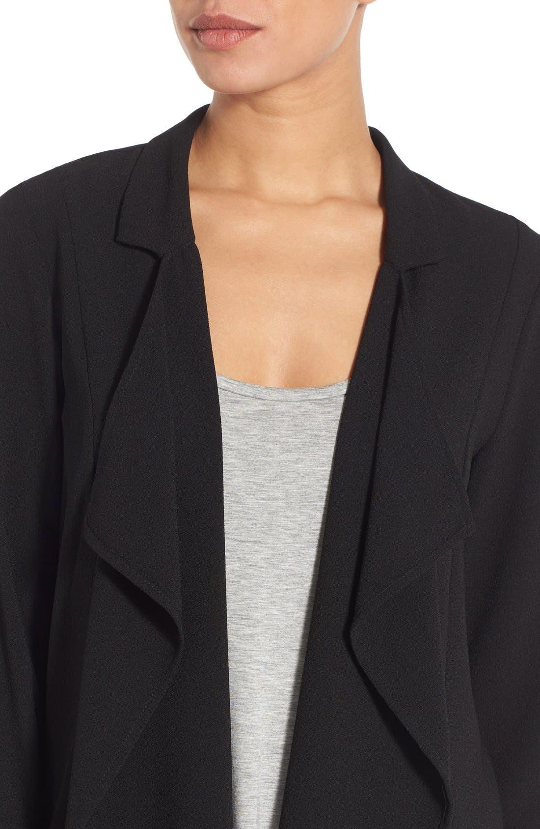 Drape Front Long Jacket,                             Alternate thumbnail 4, color,                             016