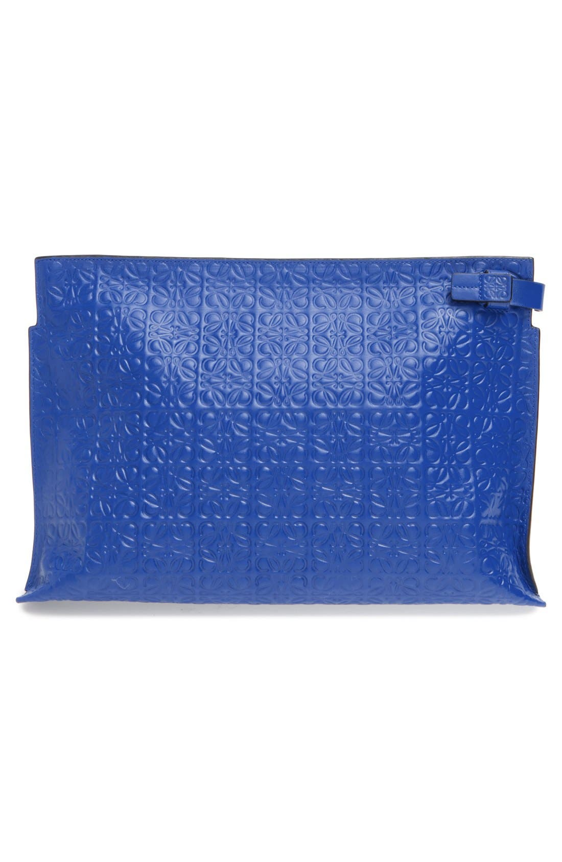 Large Logo Embossed Calfskin Leather Pouch,                             Alternate thumbnail 3, color,                             ELECTRIC BLUE