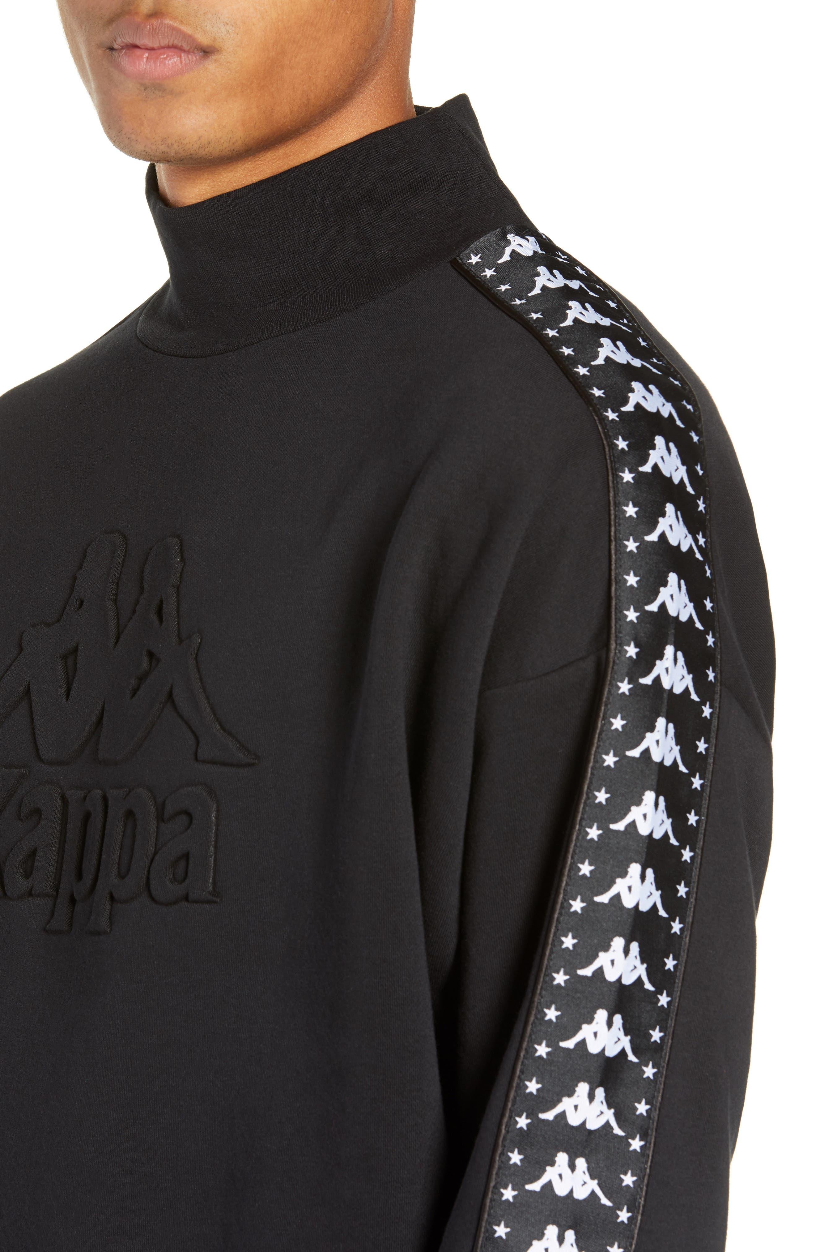 Authentic Alef Mock Neck Sweatshirt,                             Alternate thumbnail 4, color,                             BLACK/ WHITE