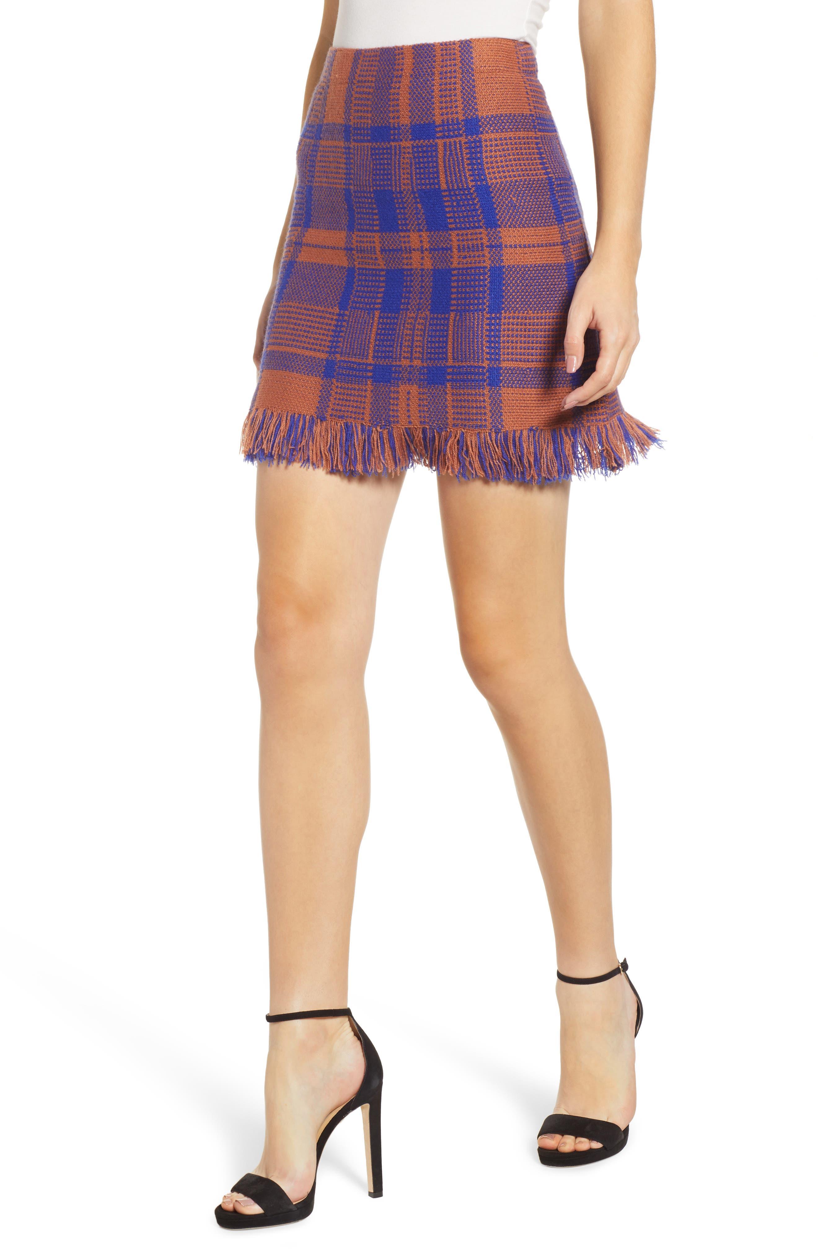 Moon River Plaid Fringe Hem Miniskirt, Brown
