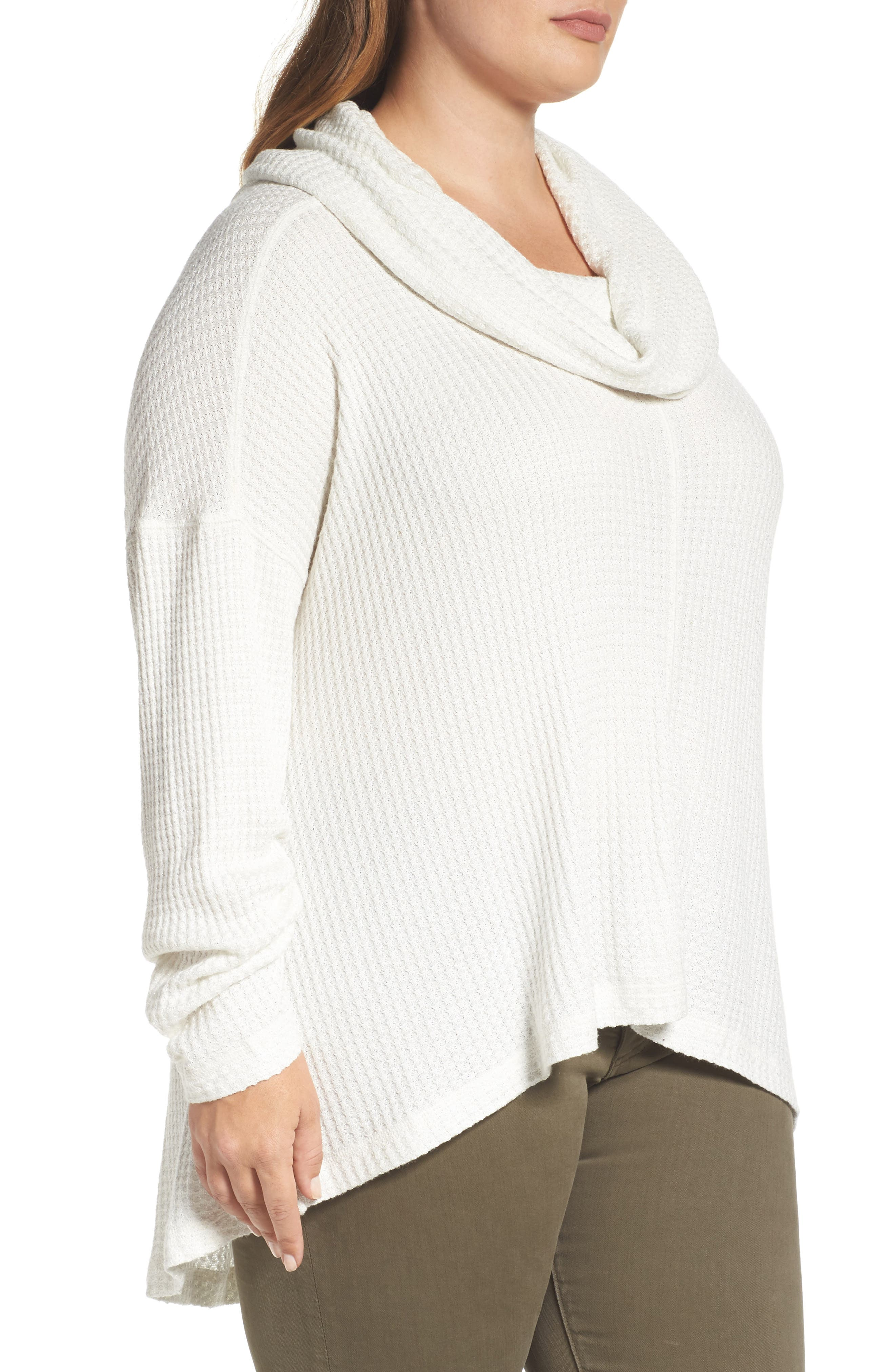 Cowl Neck Thermal Top,                             Alternate thumbnail 3, color,                             110
