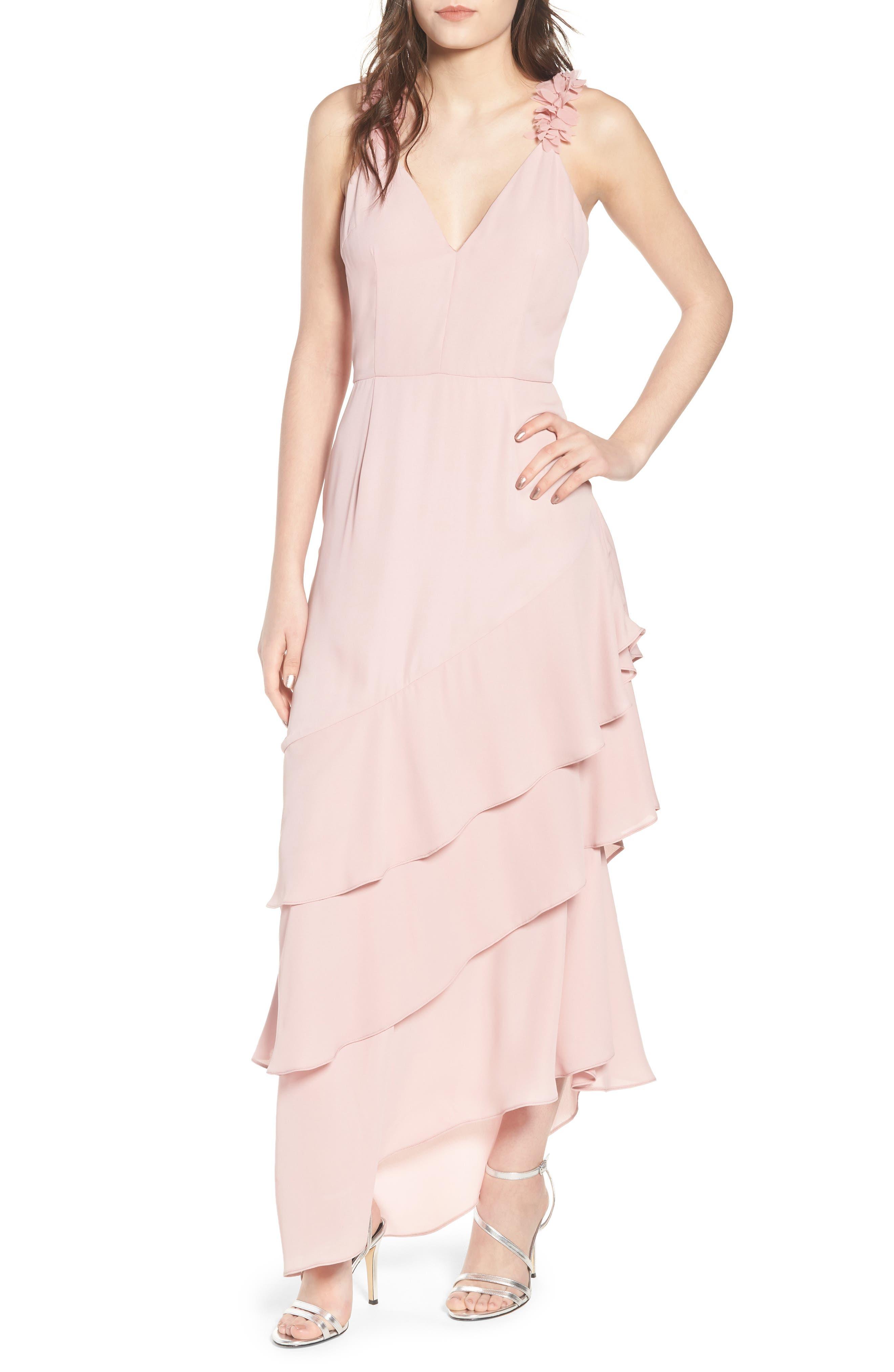 Ruffled Asymmetrical Maxi Dress,                         Main,                         color,