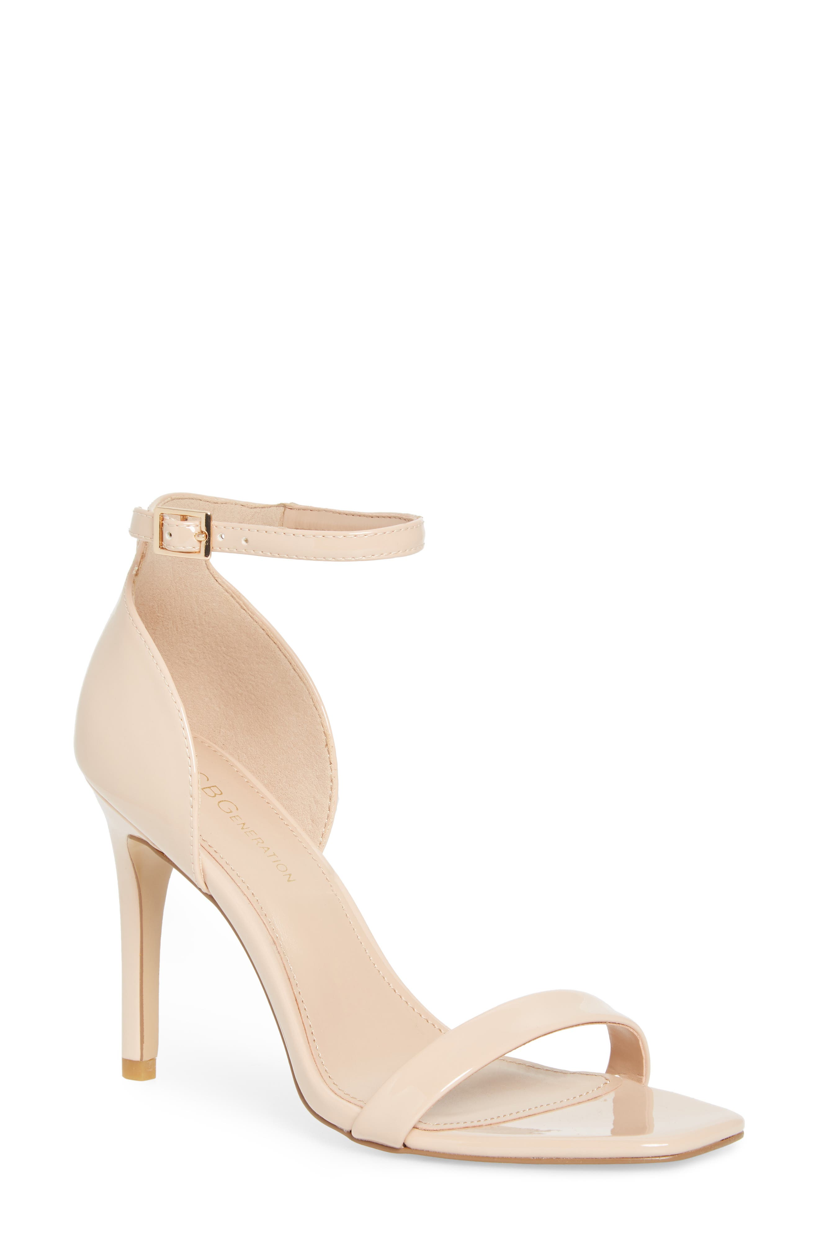 Irina Ankle Strap Sandal, Main, color, SHELL PATENT LEATHER