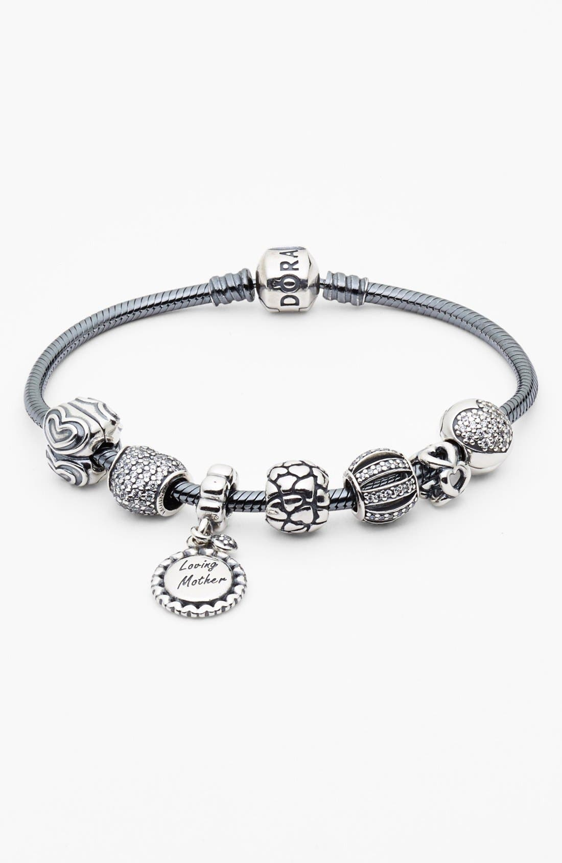Oxidized Sterling Silver Charm Bracelet,                             Alternate thumbnail 4, color,