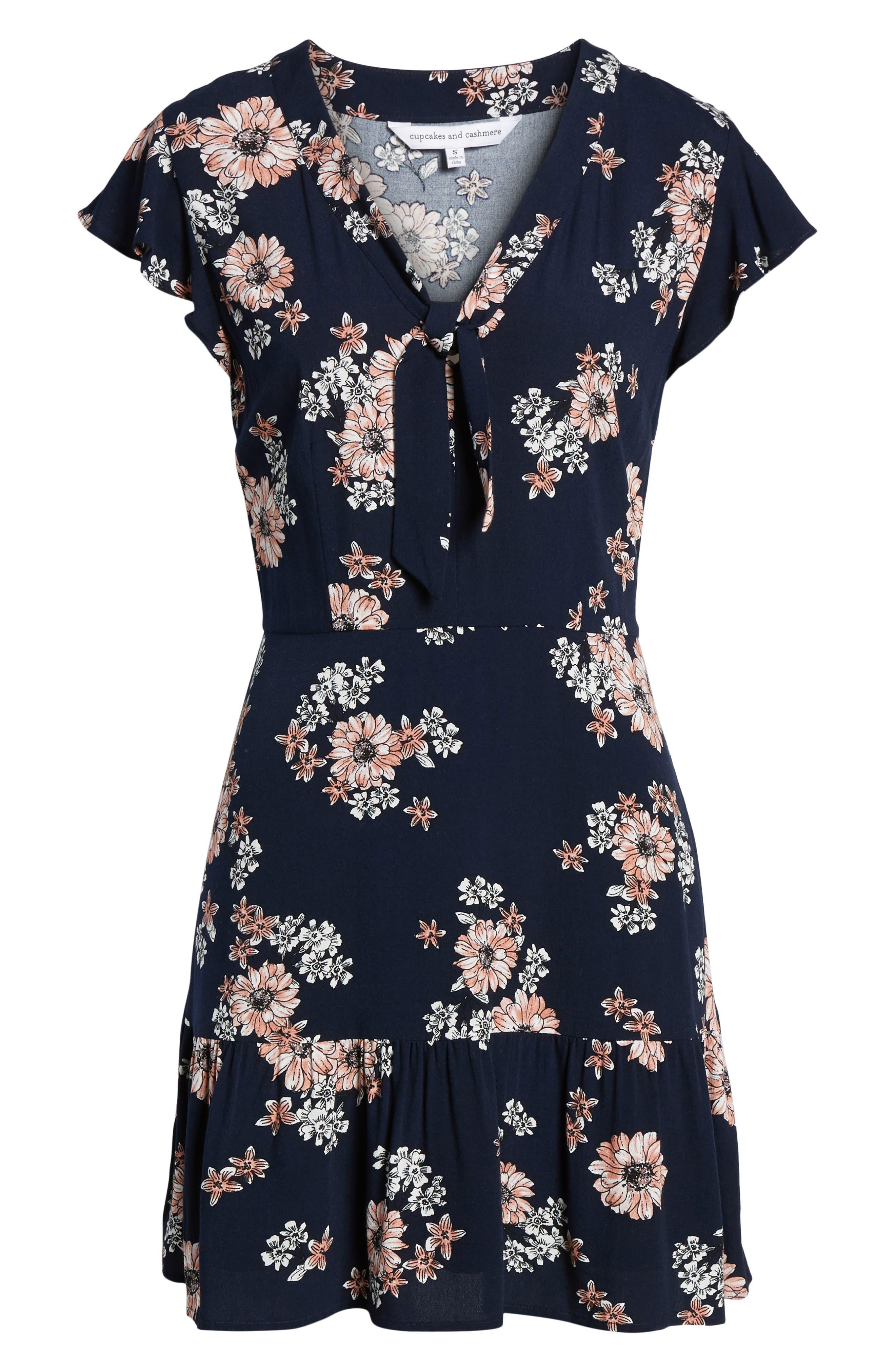 Dalma Floral Print Dress,                             Alternate thumbnail 6, color,
