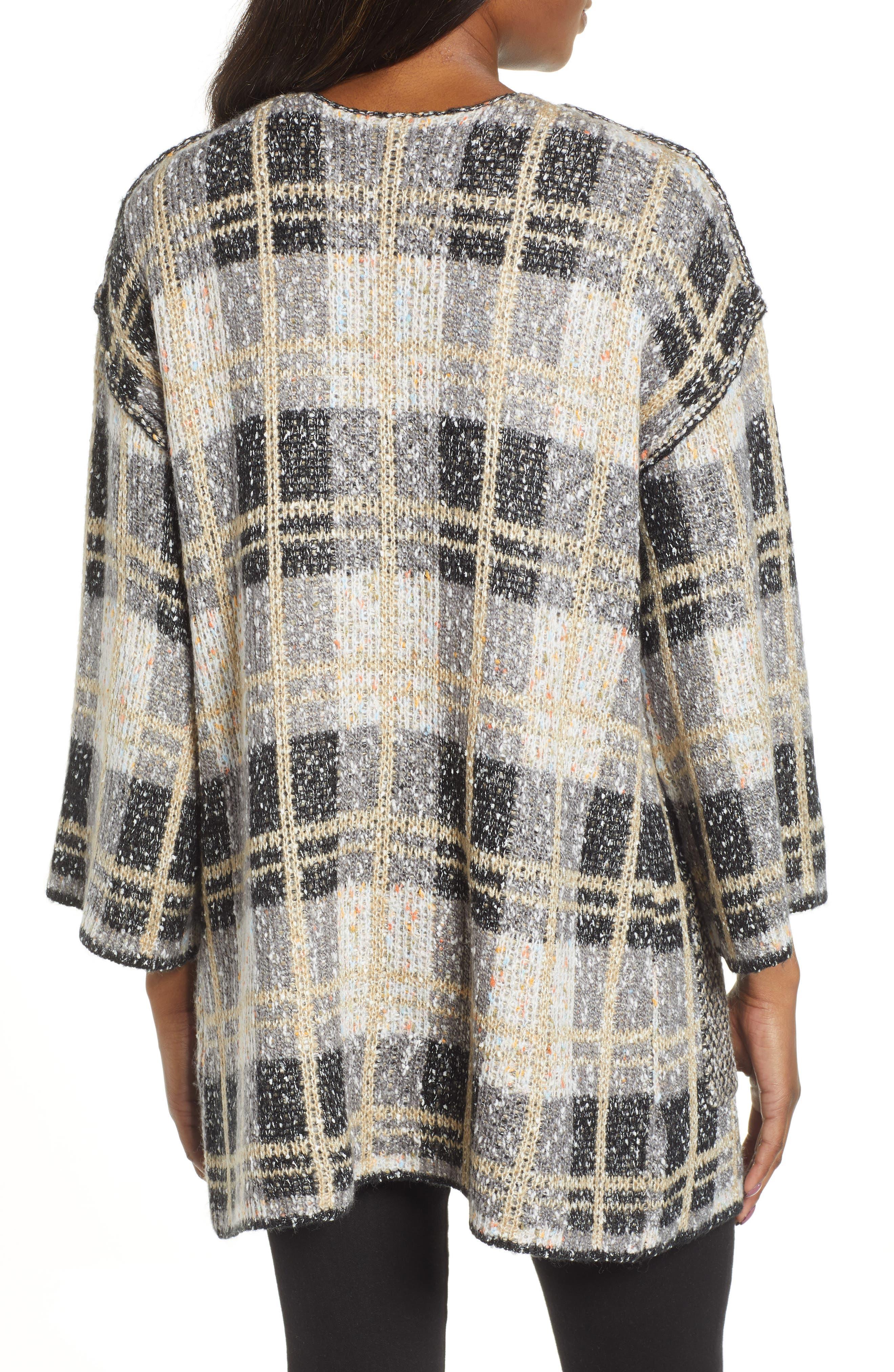 Reversible Plaid Jacquard Sweater Jacket,                             Alternate thumbnail 3, color,                             GREY