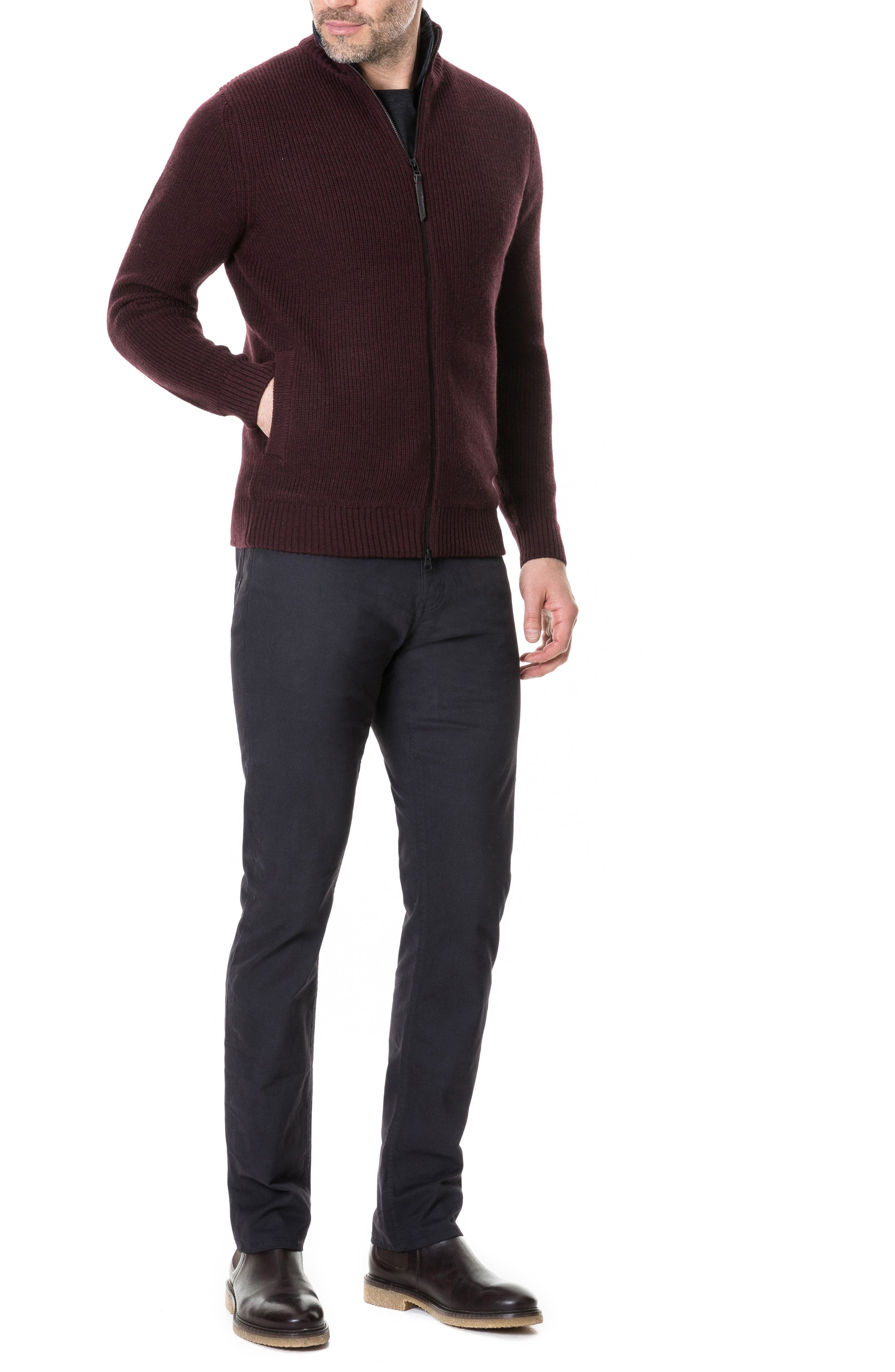 Camerons Track Zip Wool Sweater,                             Alternate thumbnail 5, color,                             BURGUNDY