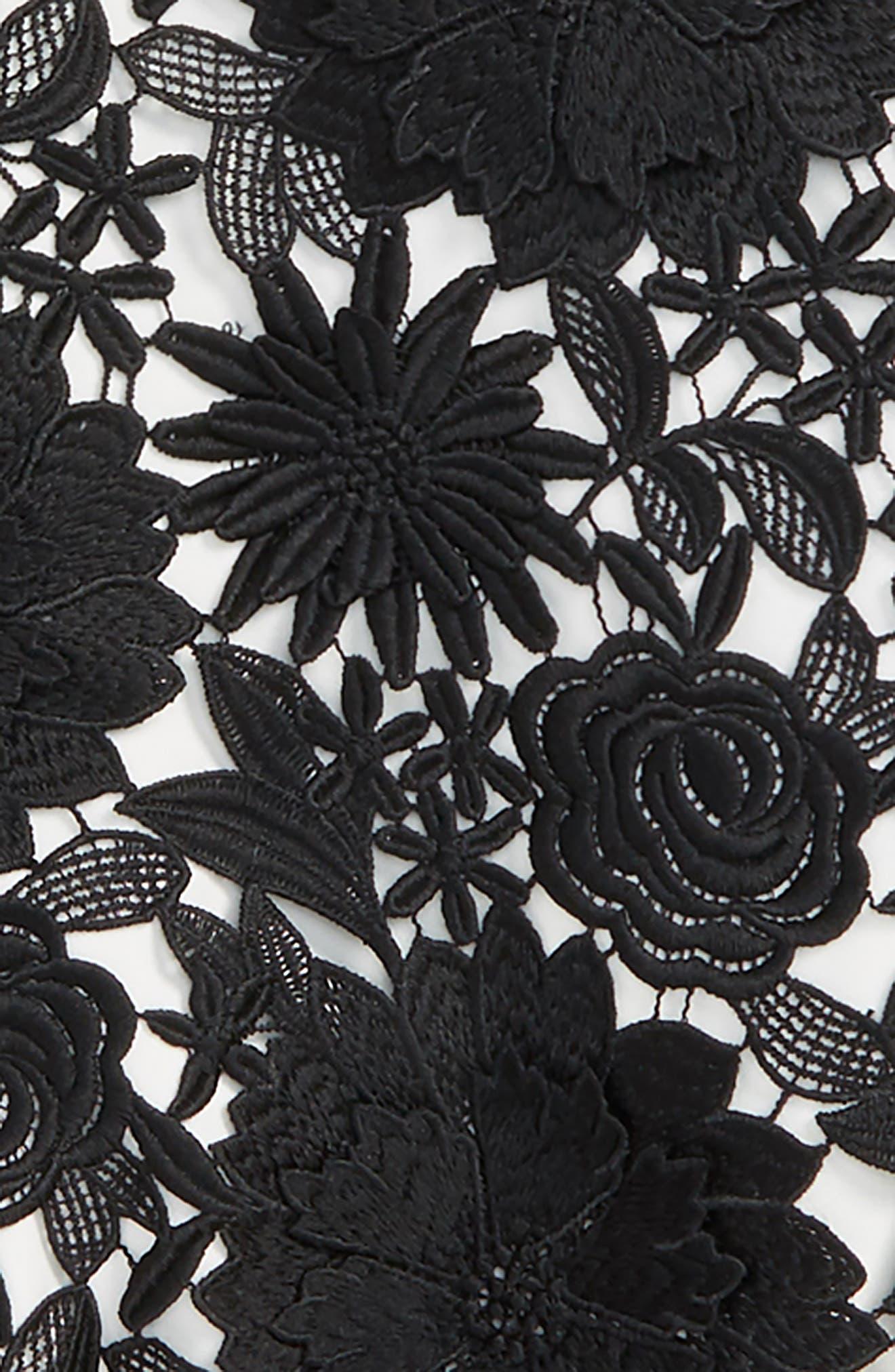 Floral Appliqué Bomber Jacket,                             Alternate thumbnail 2, color,                             BLACK