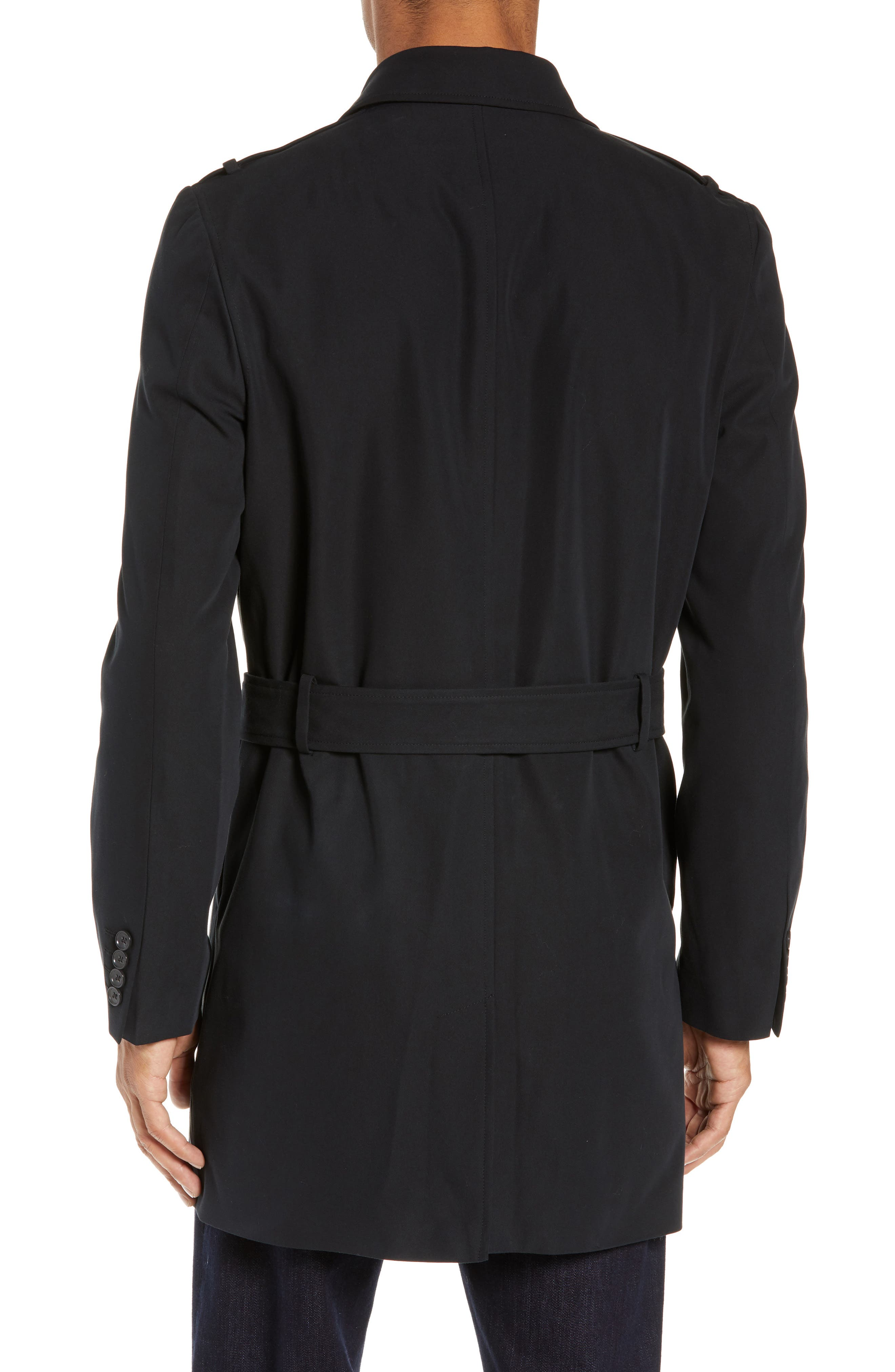 Clean Short Trench Coat,                             Alternate thumbnail 2, color,                             BLACK