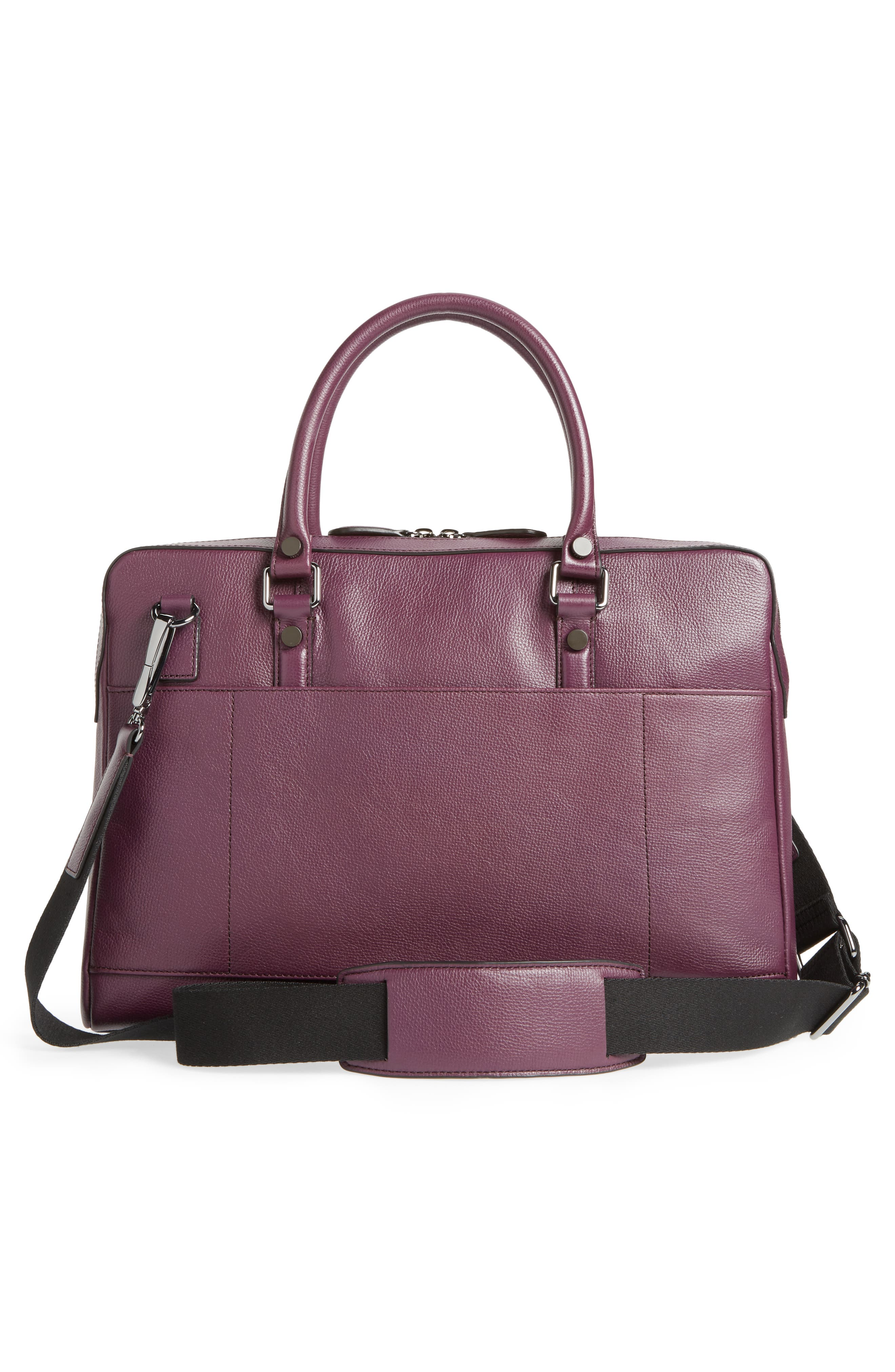 TED BAKER LONDON,                             Hoooch Leather Briefcase,                             Alternate thumbnail 3, color,                             501