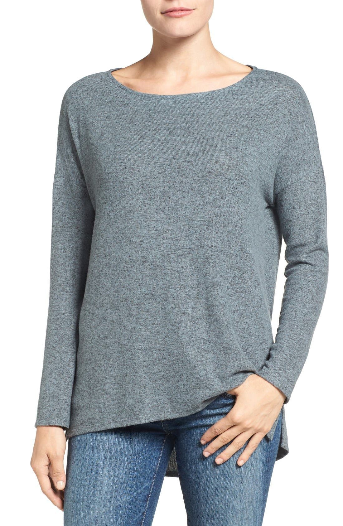 Cozy Ballet Neck High/Low Pullover,                             Main thumbnail 10, color,