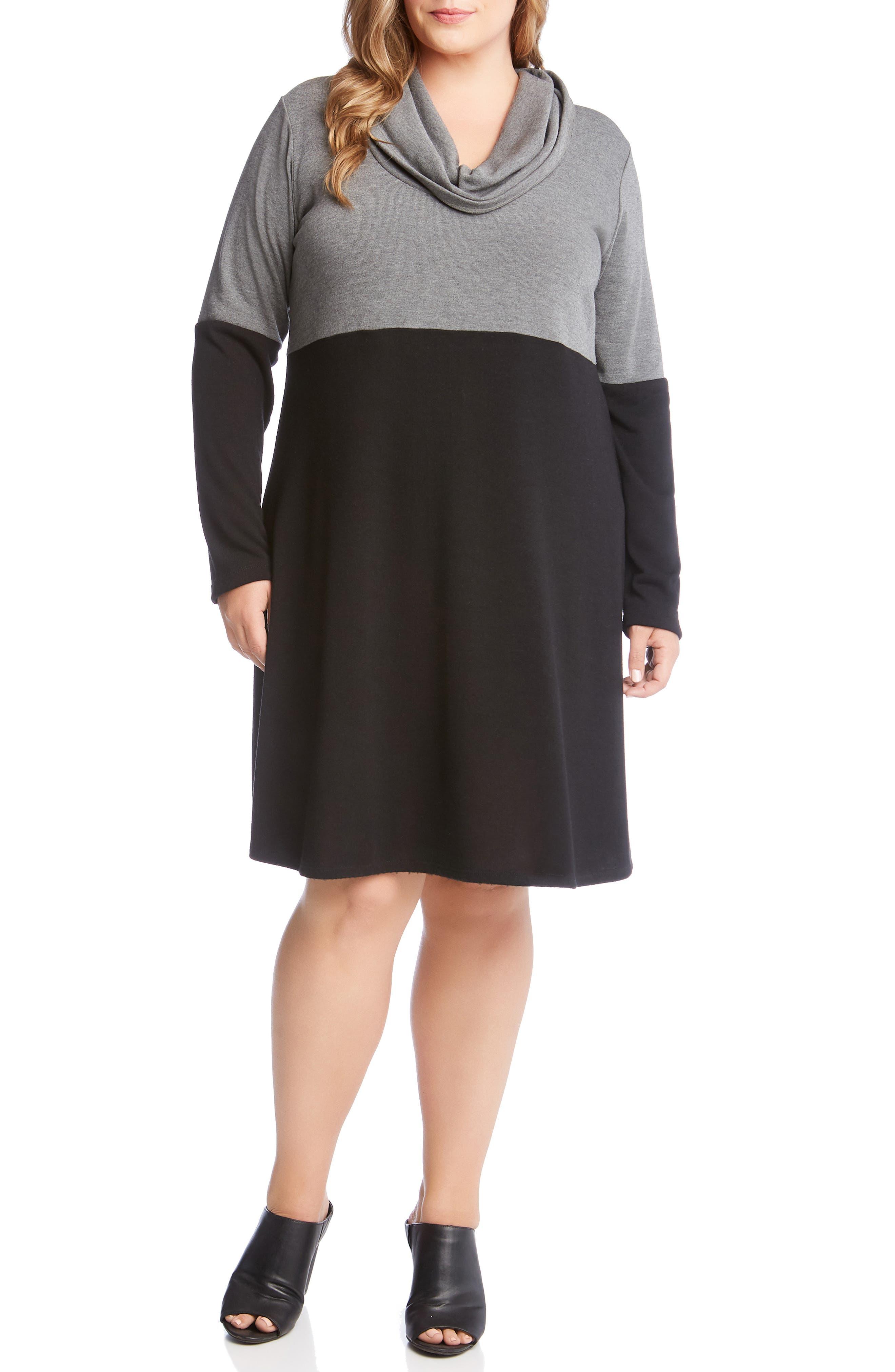 Plus Size Karen Kane Taylor Cowl Neck Colorblock Dress