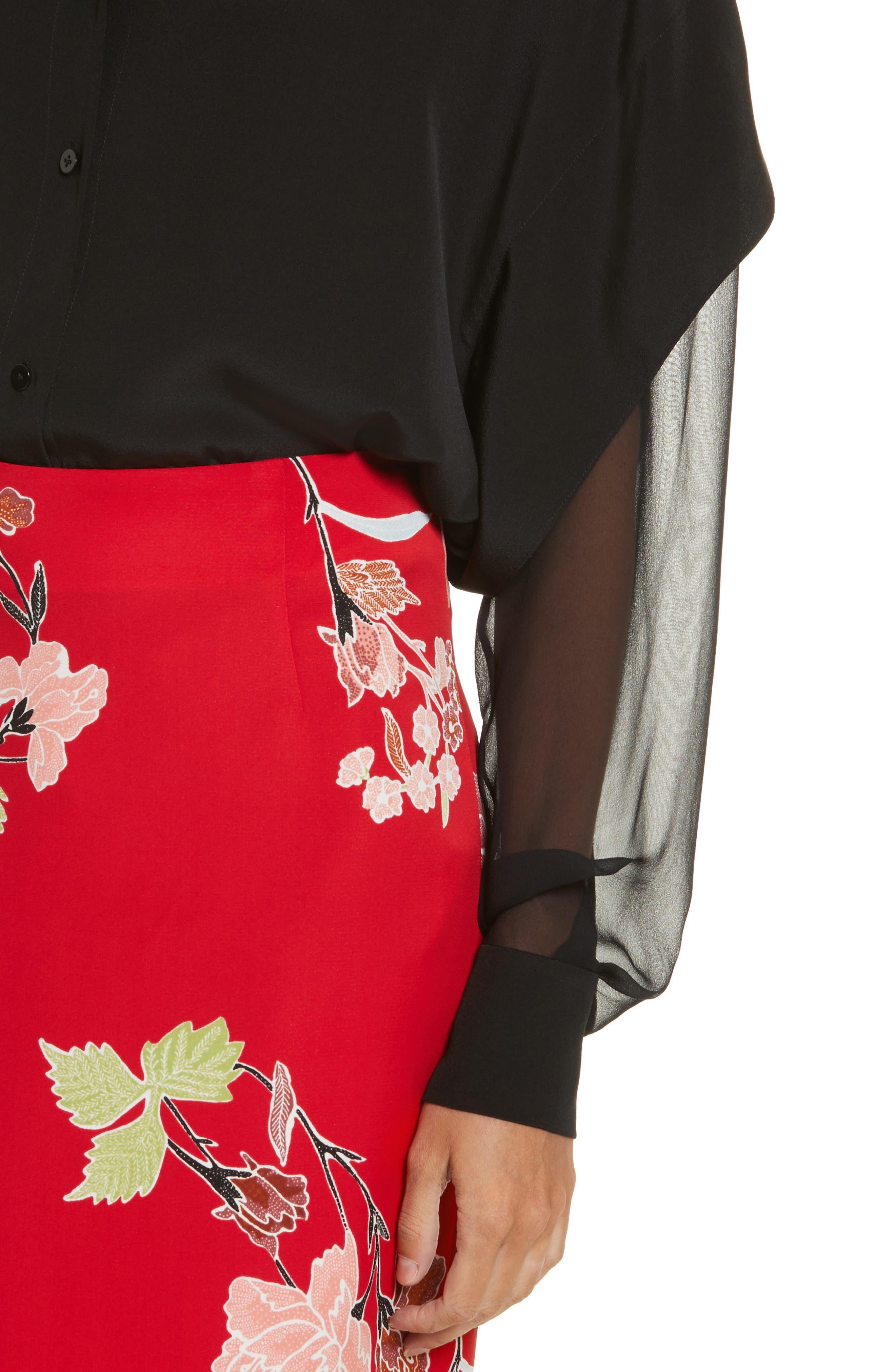 Button-Down Silk Shirt,                             Alternate thumbnail 4, color,
