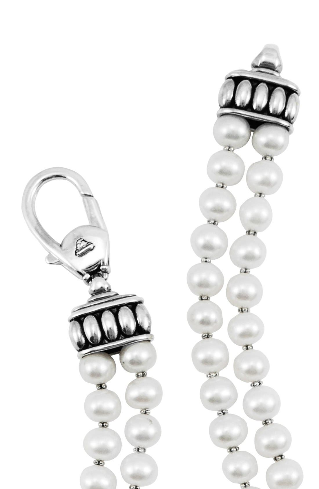 'Luna' Double Row Pearl Necklace,                             Alternate thumbnail 3, color,                             SILVER/PEARL