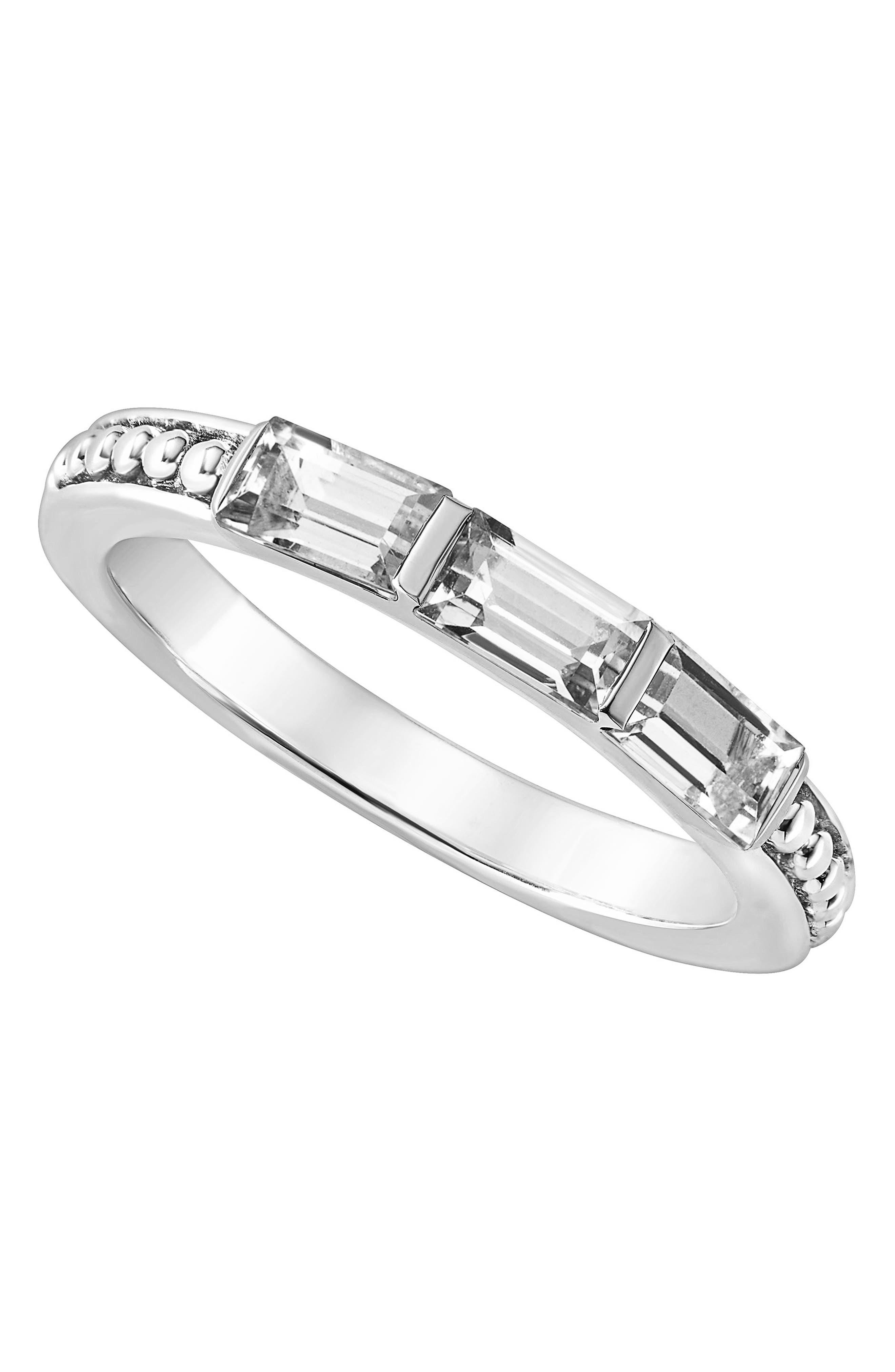 Gemstone Baguette Stackable Ring,                             Alternate thumbnail 4, color,                             SILVER/ 18K GOLD/ WHITE TOPAZ