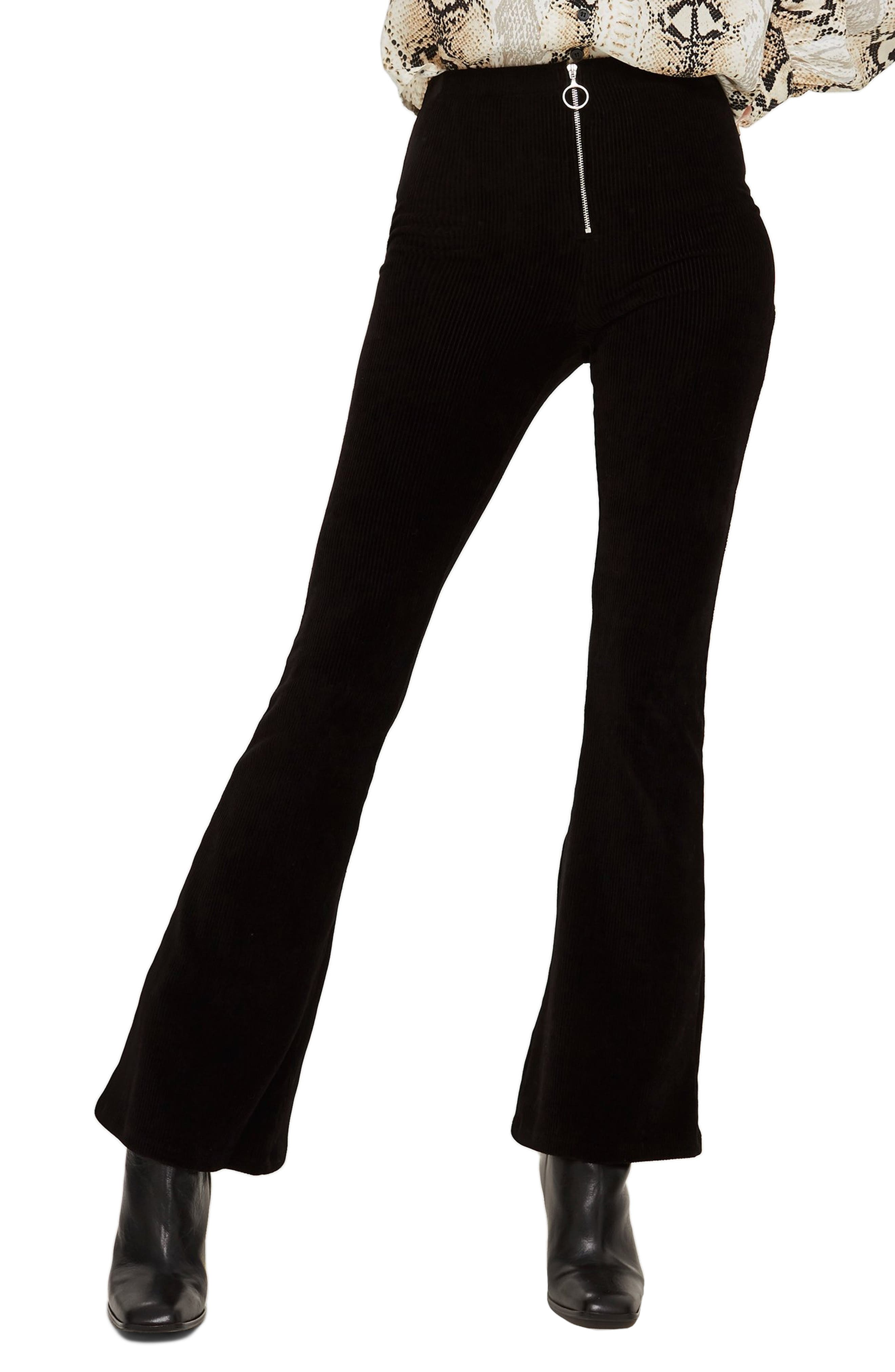 Topshop Zip Flare Corduroy Pants, US (fits like 0) - Black