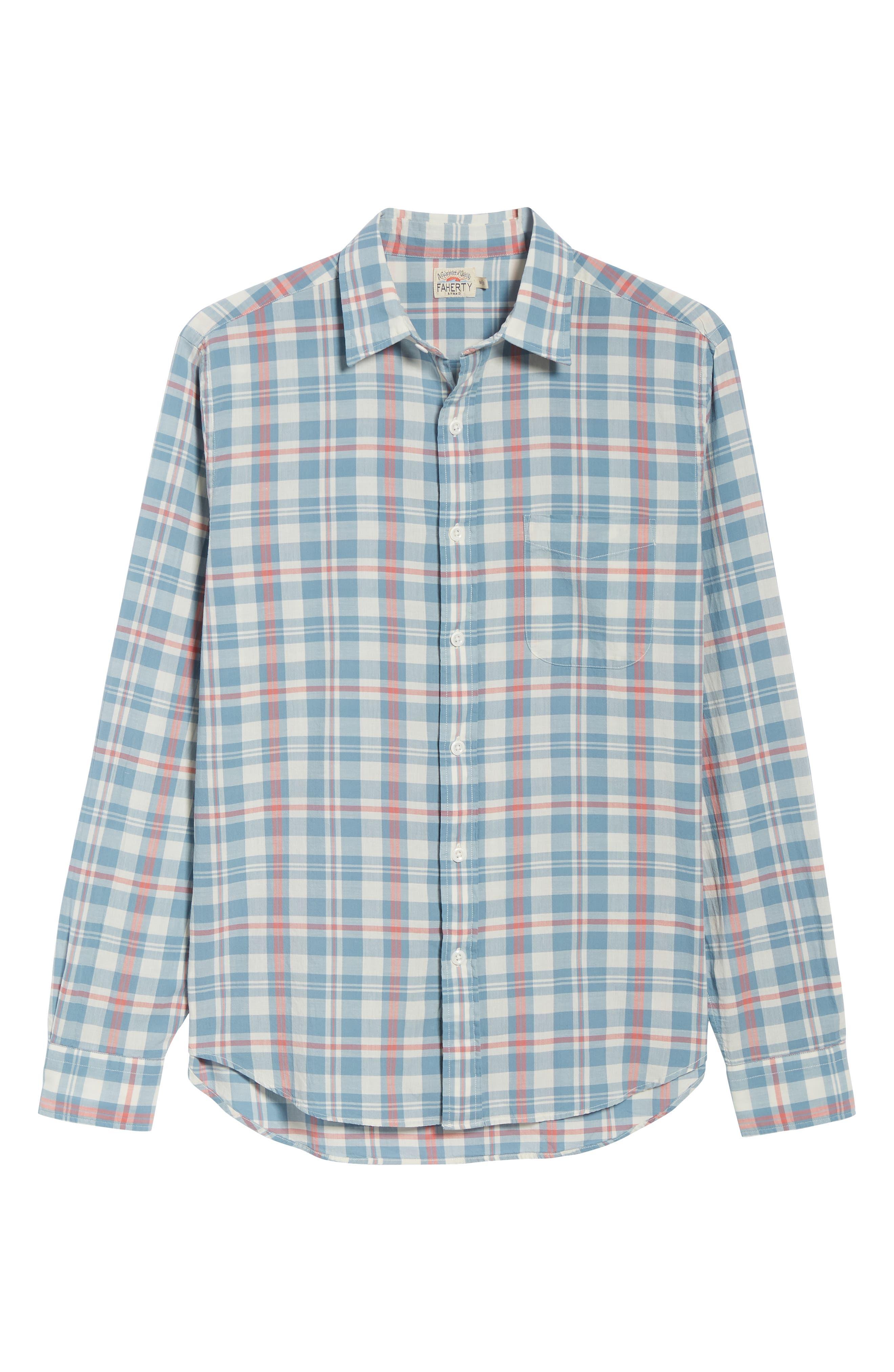 Ventura Plaid Sport Shirt,                             Alternate thumbnail 6, color,                             WASHED BLUE CREAM