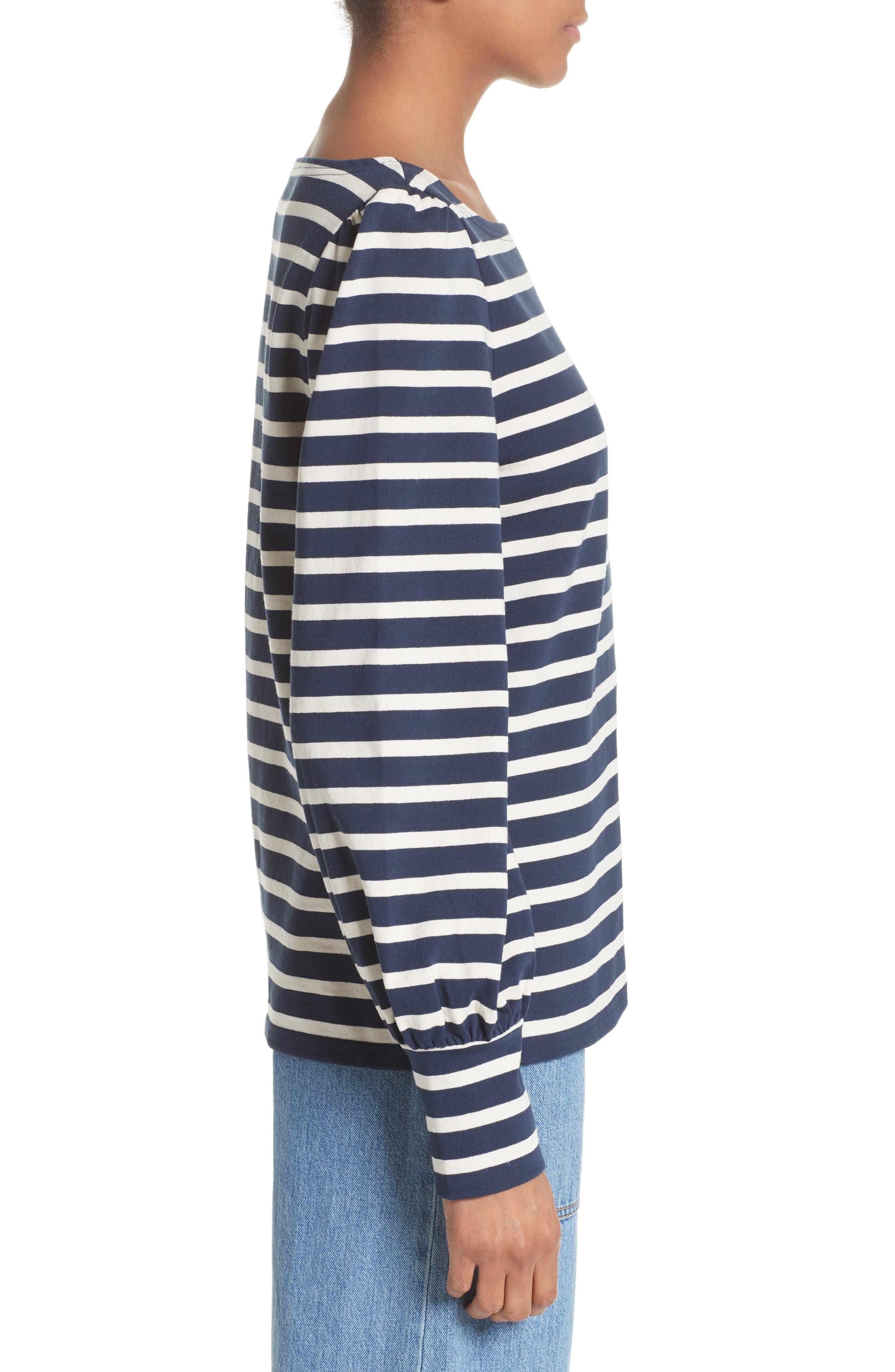 Reverse Breton Stripe Bell Sleeve Top,                             Alternate thumbnail 3, color,