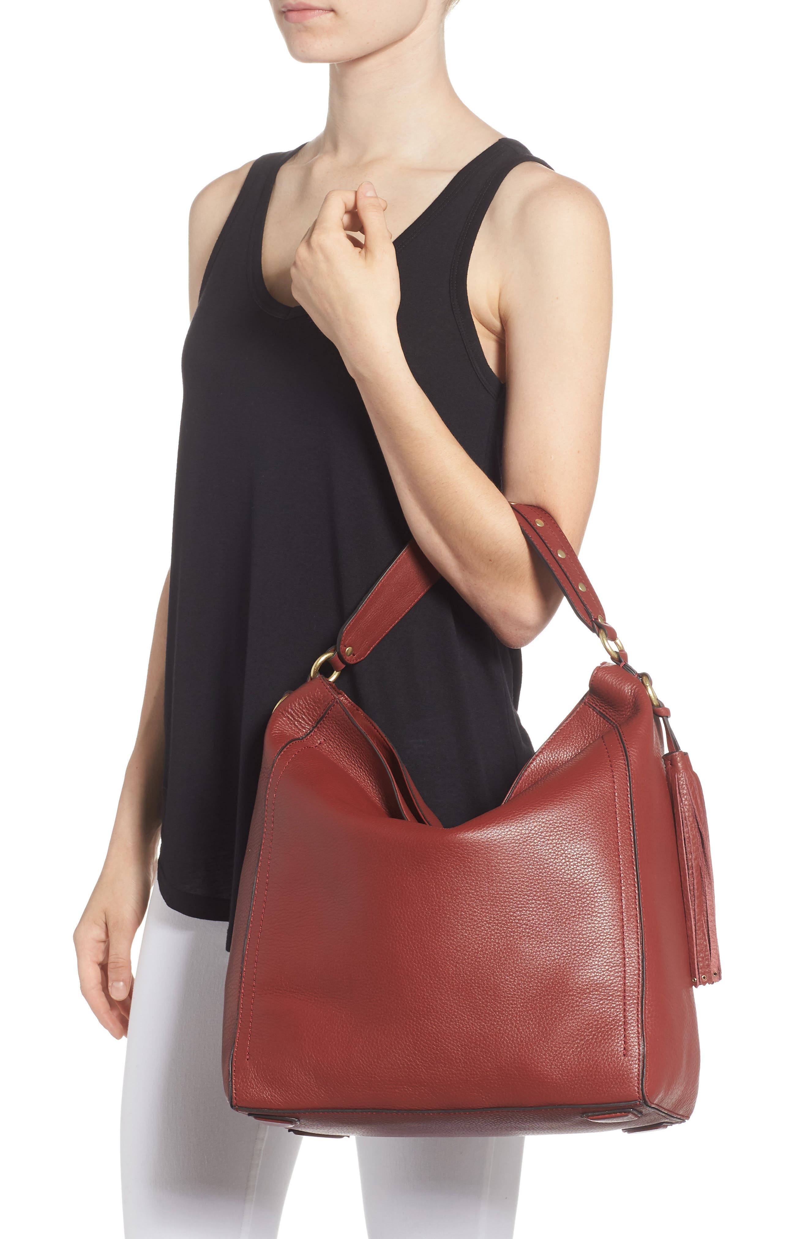 Cassidy RFID Pebbled Leather Bucket Bag,                             Alternate thumbnail 6, color,