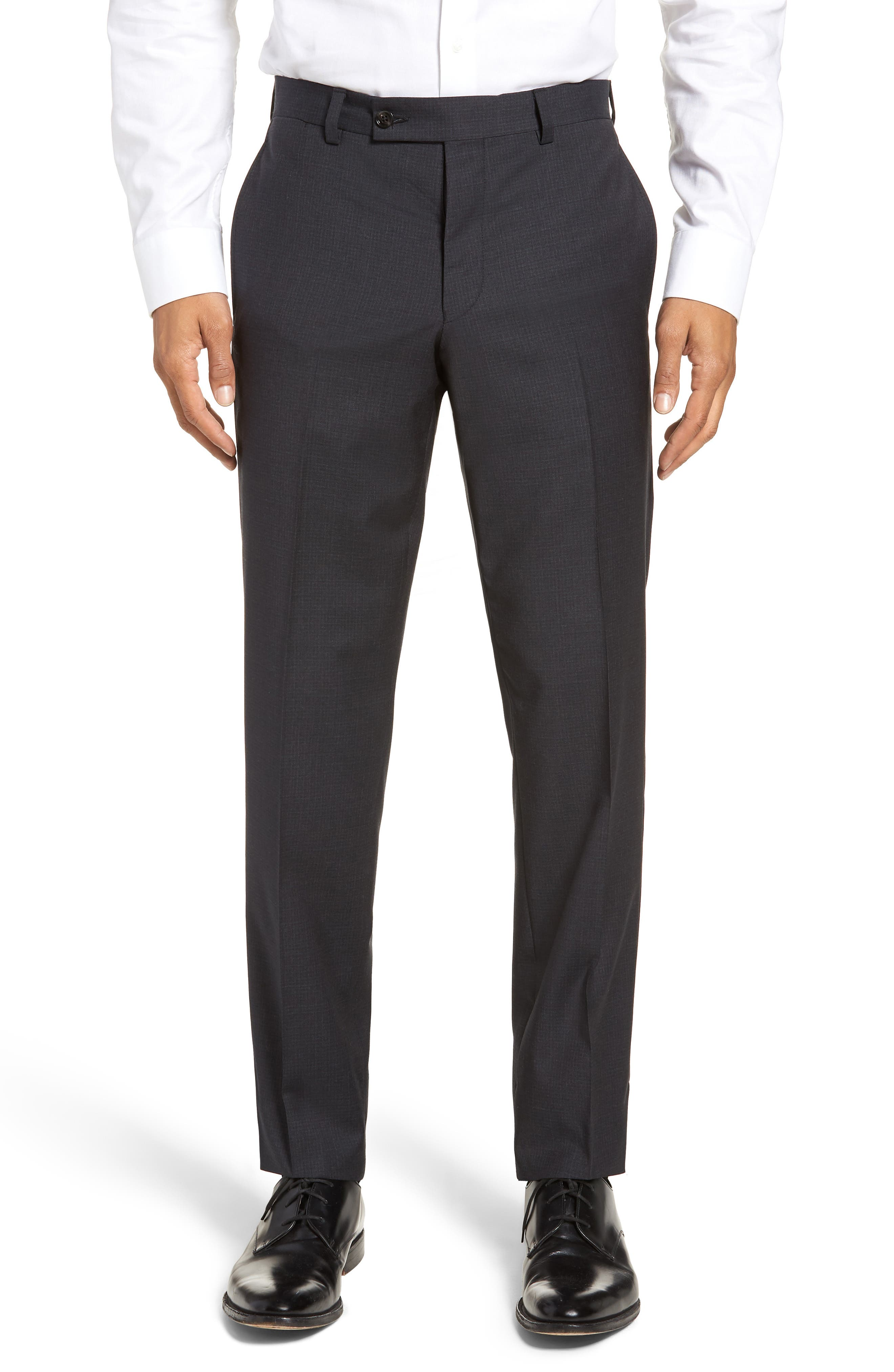 Jefferson Flat Front Check Wool Trousers,                             Main thumbnail 1, color,                             BROWN