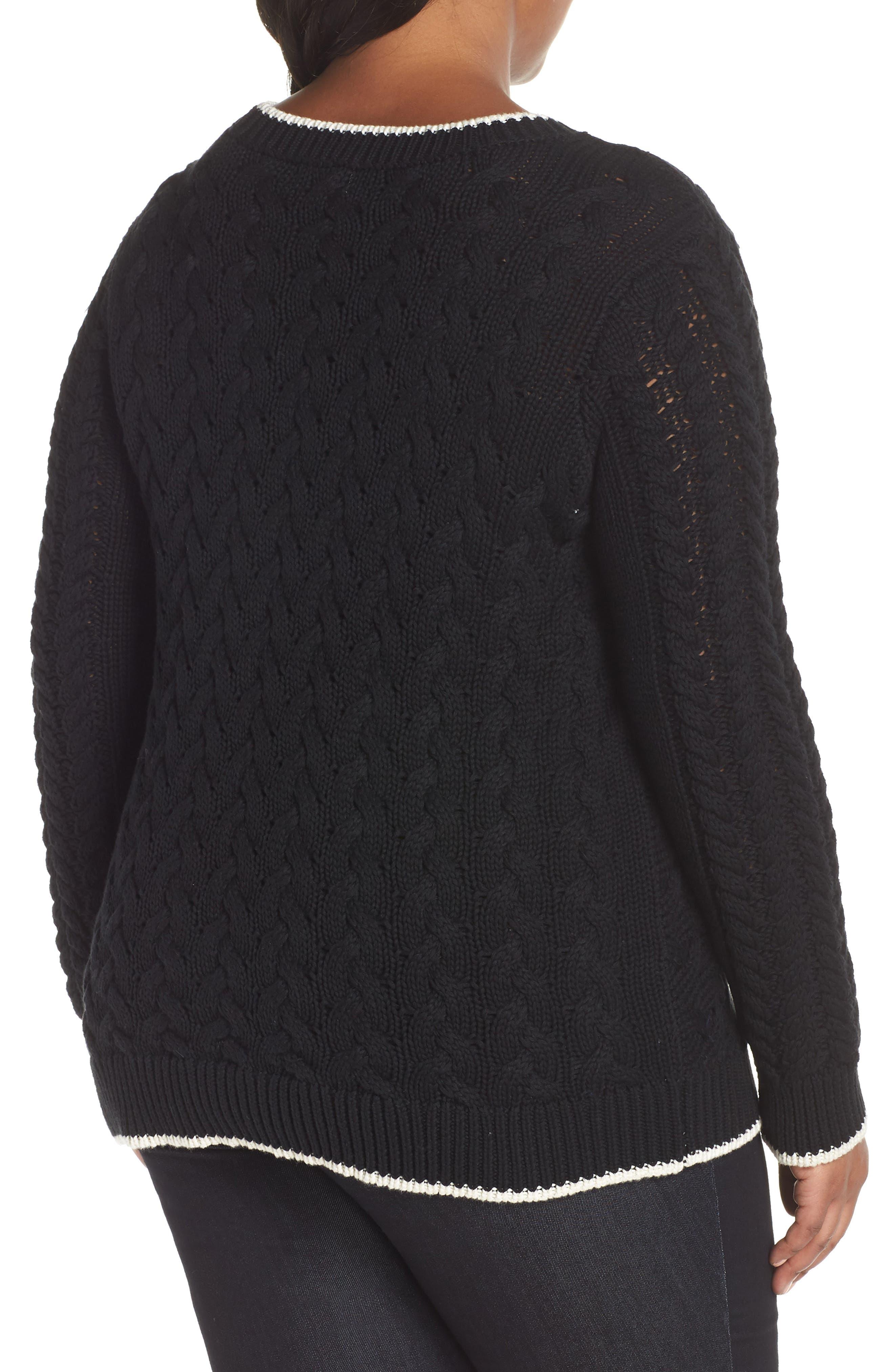 Contrast Trim Cable Sweater,                             Alternate thumbnail 2, color,                             RICH BLACK