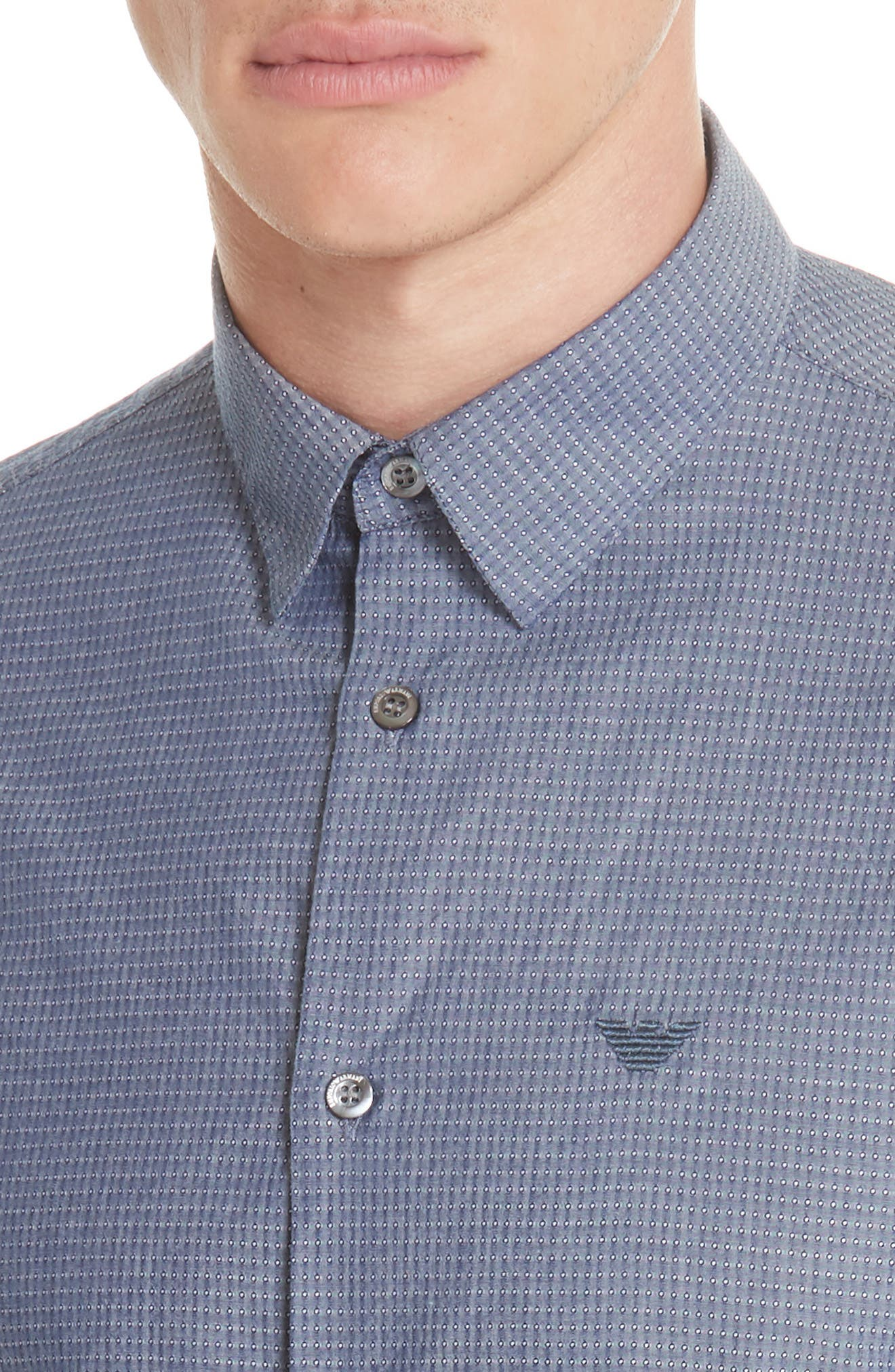 Slim Fit Solid Sport Shirt,                             Alternate thumbnail 4, color,                             BLUE MULTI