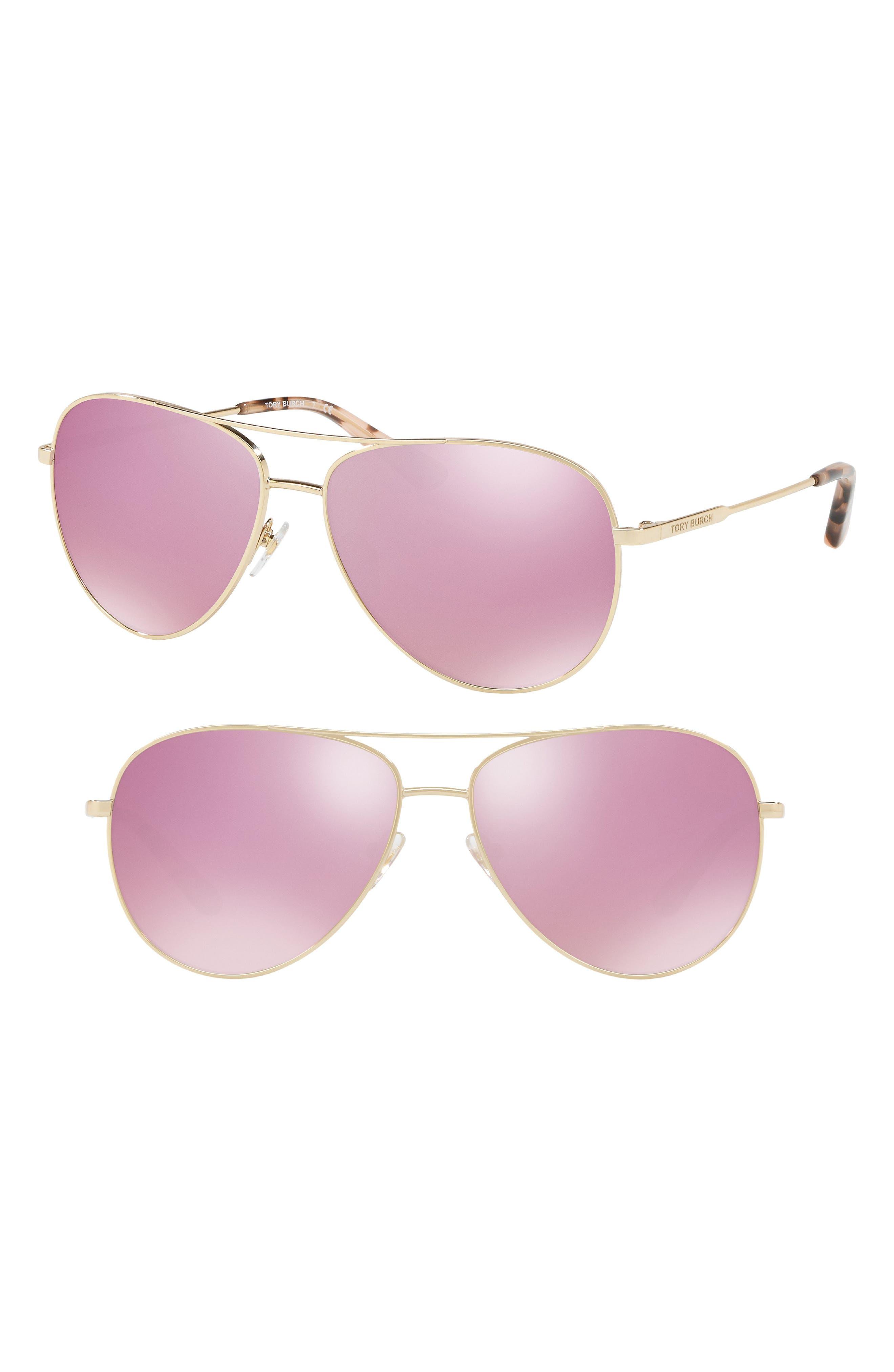 59mm Thin Metal Aviator Sunglasses,                             Main thumbnail 1, color,                             PINK